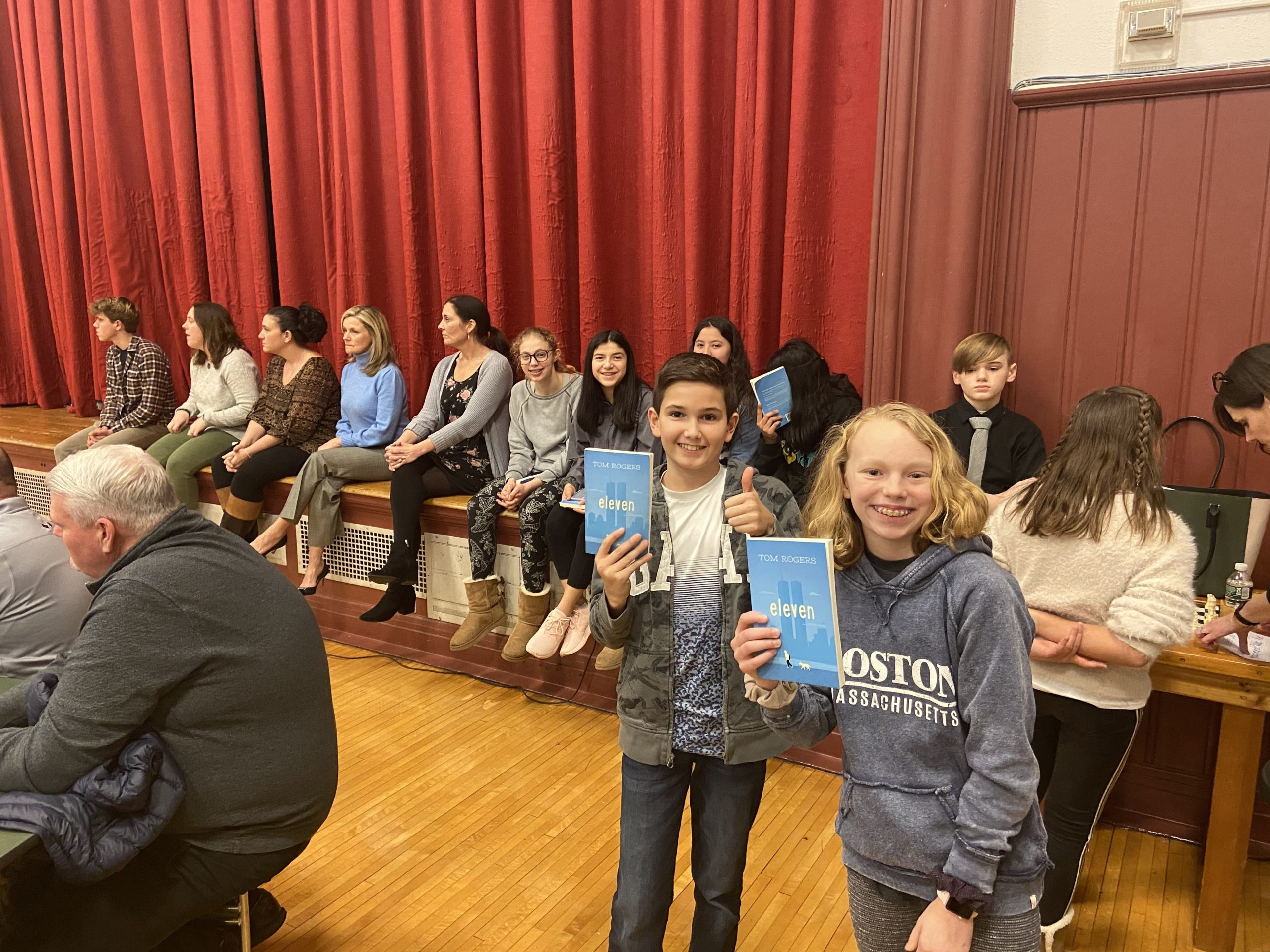 """Westhampton Beach Middle School recently hosted a  community read event featuring the book """"Eleven"""" by Tom Rogers, culminating a monthlong reading of the book and a Skype talk with the author during which students and community members asked Mr. Rogers about his writing and his life."""