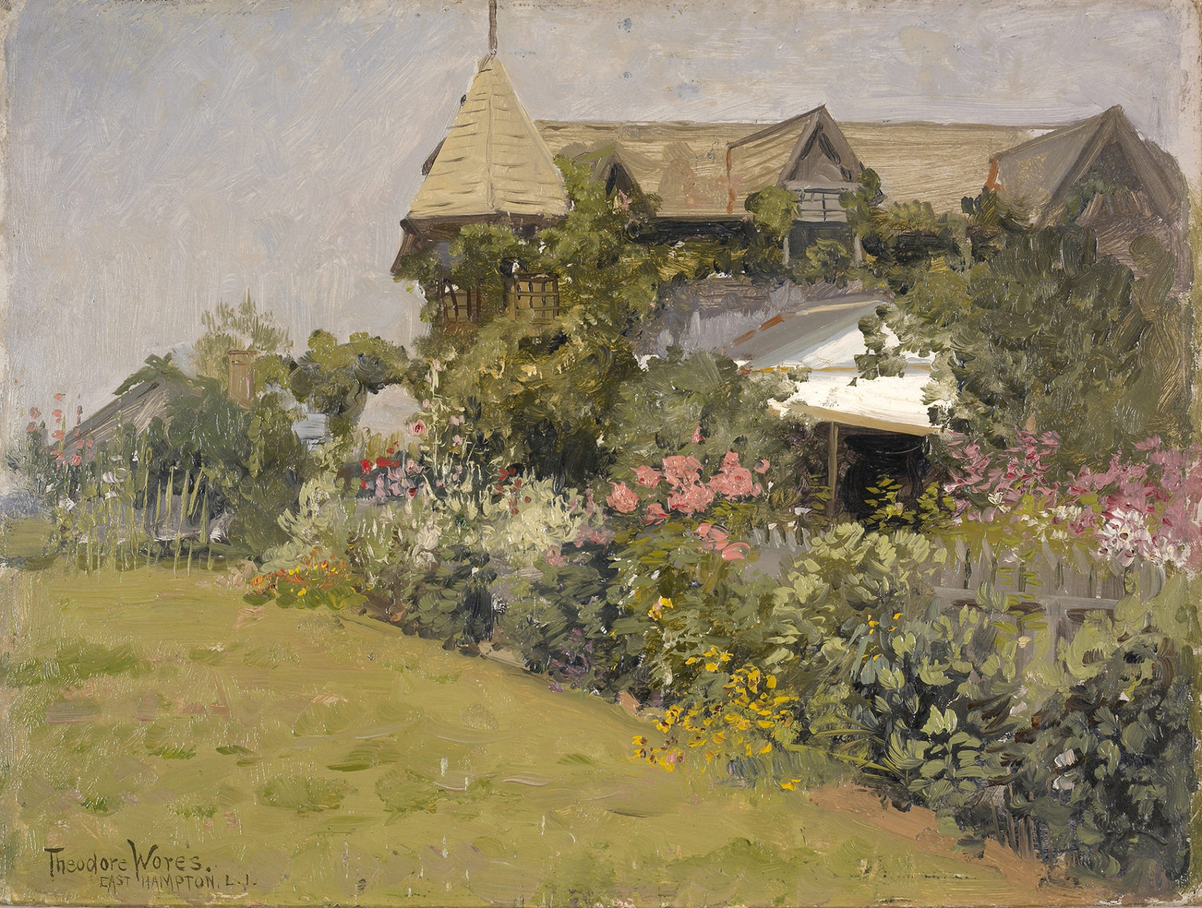 """Theodore Wores (1859-1939), """"Thomas Moran's House,"""" undated. Oil on board, 9 x 12 in. Gift of Dr. A. Jess Shenson in memory of Ronald G. Pisano."""