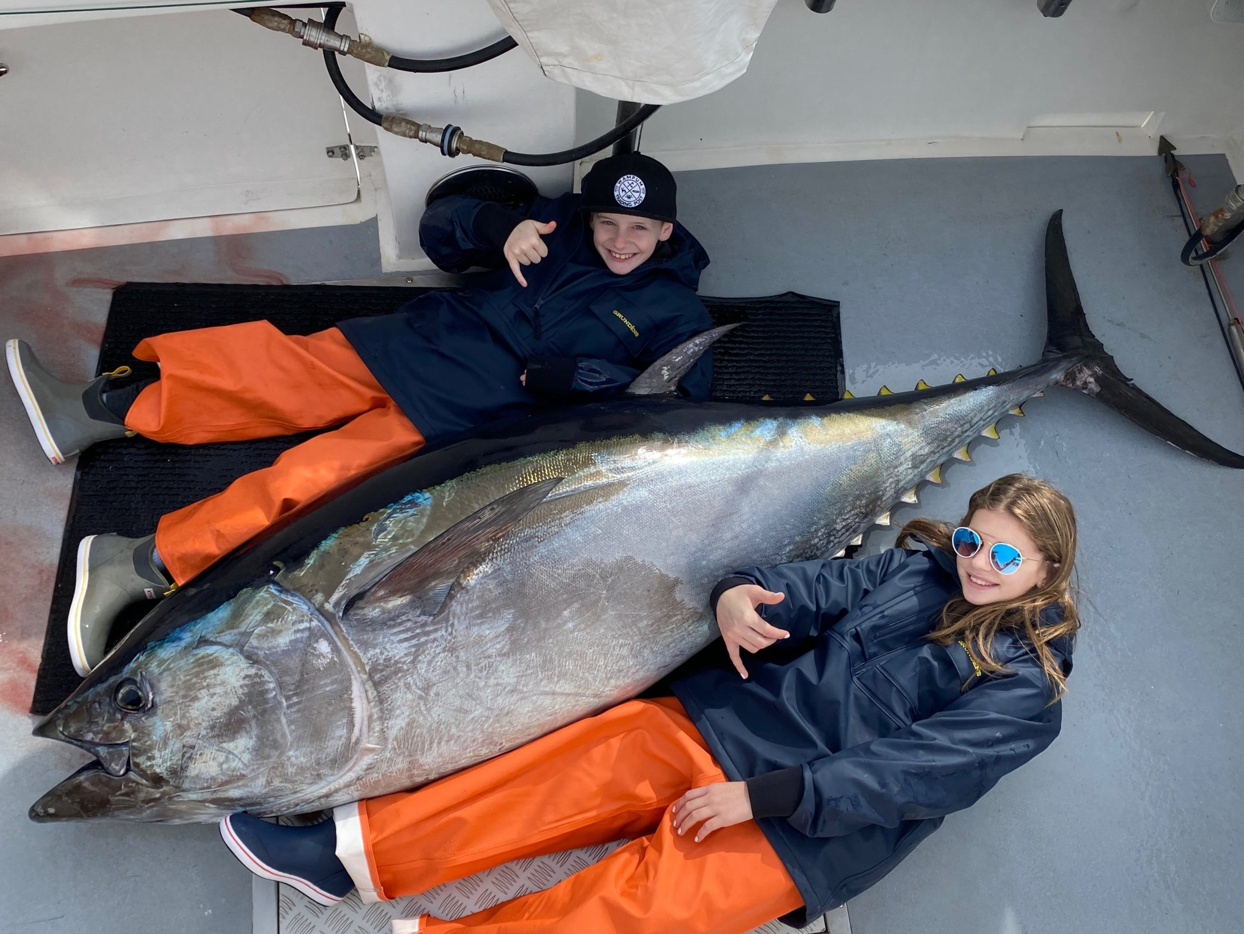 Montauk kids Brayden and Carly Fromm helped their dad deck this bluefin tuna while fishing in North Carolina this week.