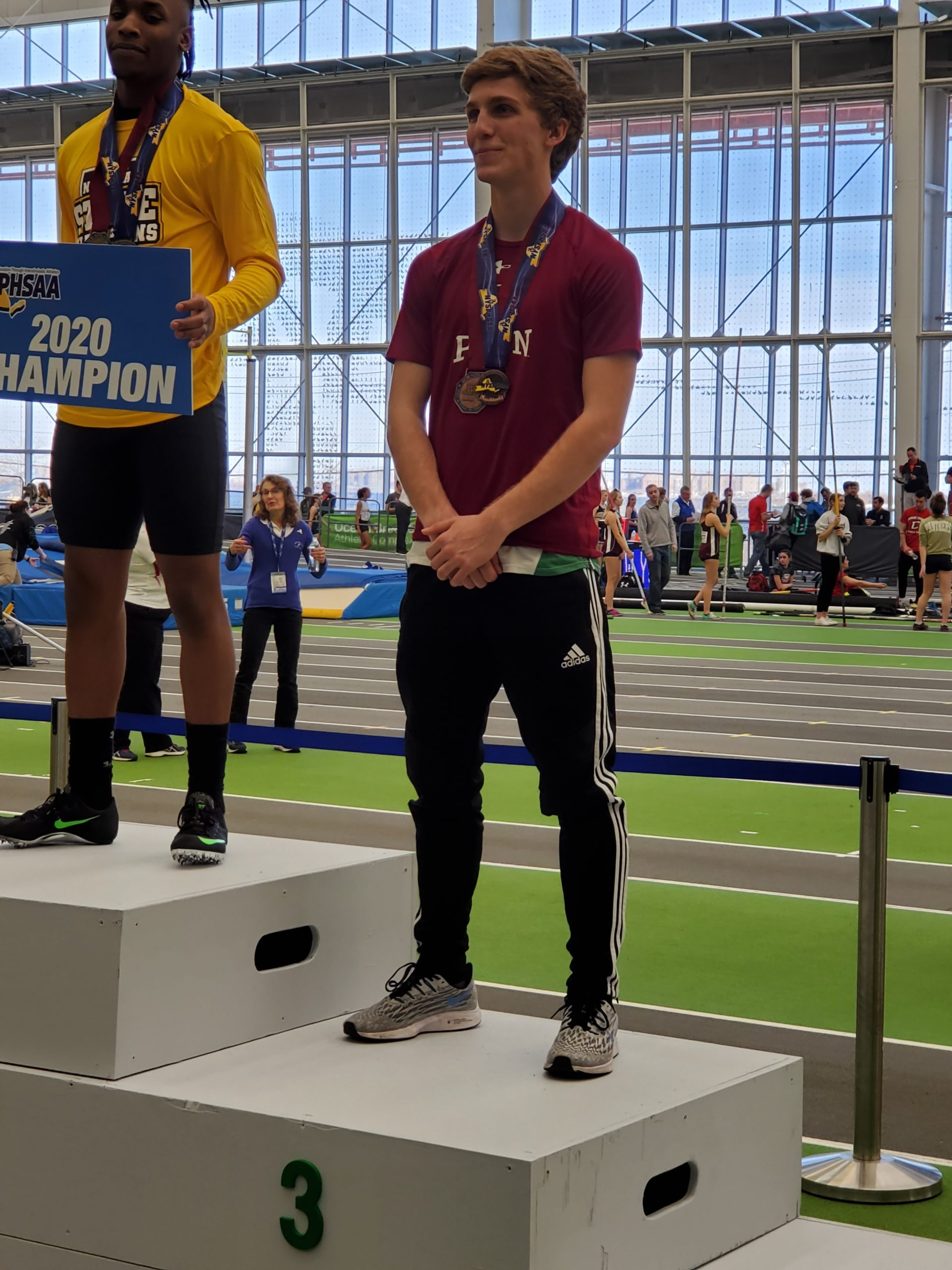 Westhampton Beach senior Jack Meigel earned a pair of bronze medals for placing third in the state in the high jump.
