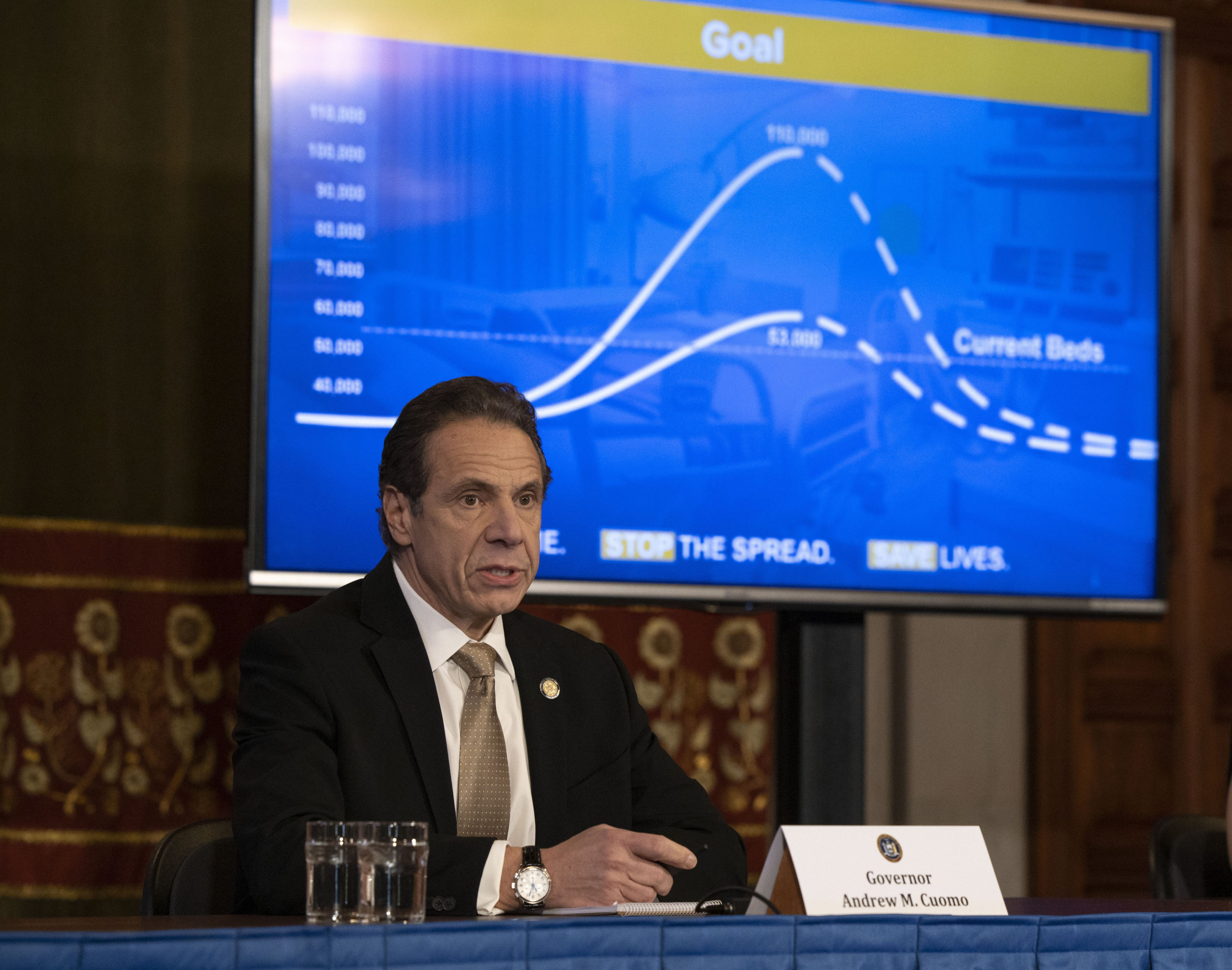 Governor Andrew M. Cuomo provides a coronavirus update during a briefing in the Red Room at the state Capitol in Albany.   MIKE GROLL