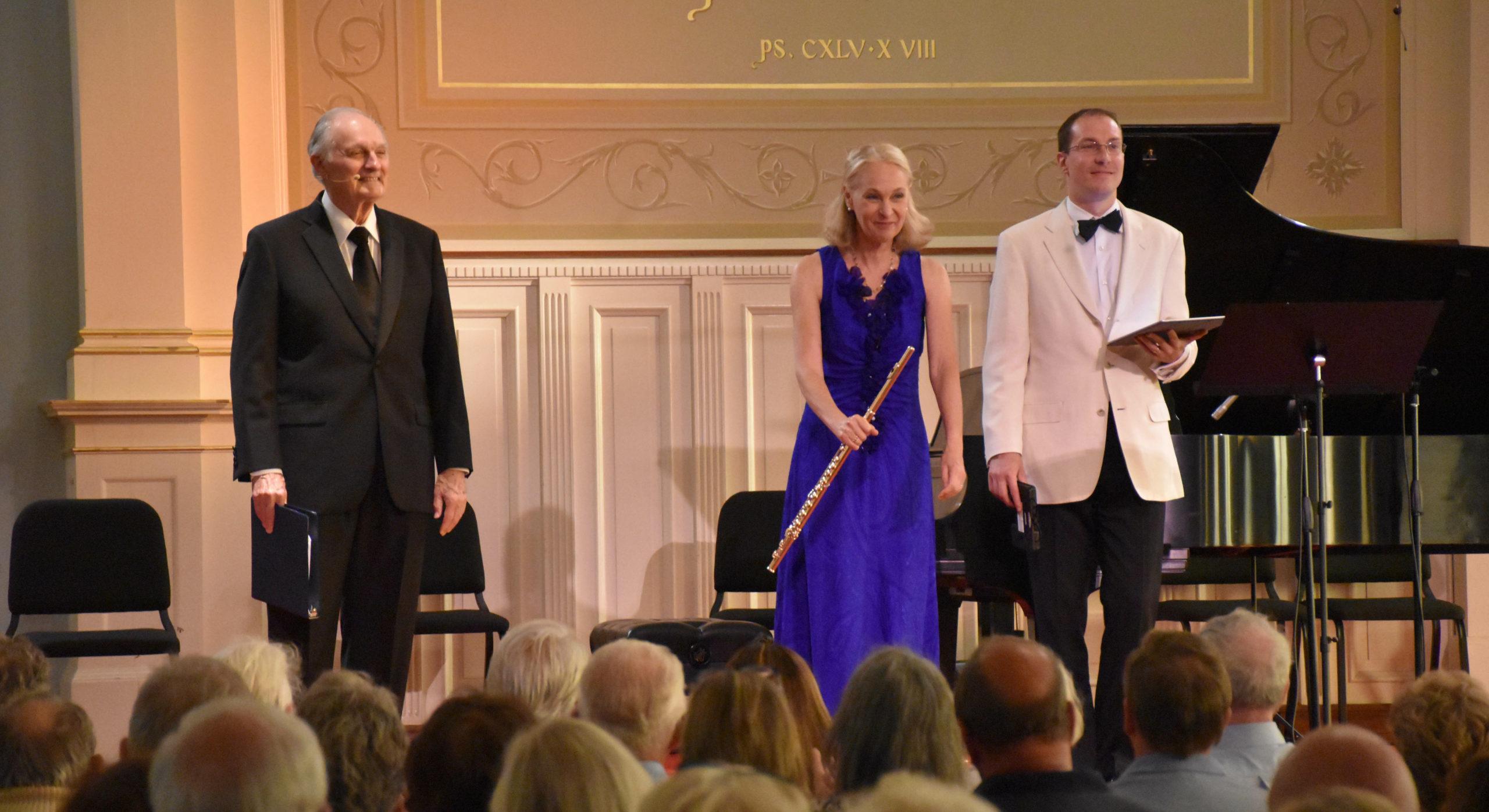 From left, Alan Alda, Marya Martin and Gilles Vonsattel at a 2017 concert of the Bridgehampton Chamber Music Festival at the Bridgehampton Presbyterian Church.