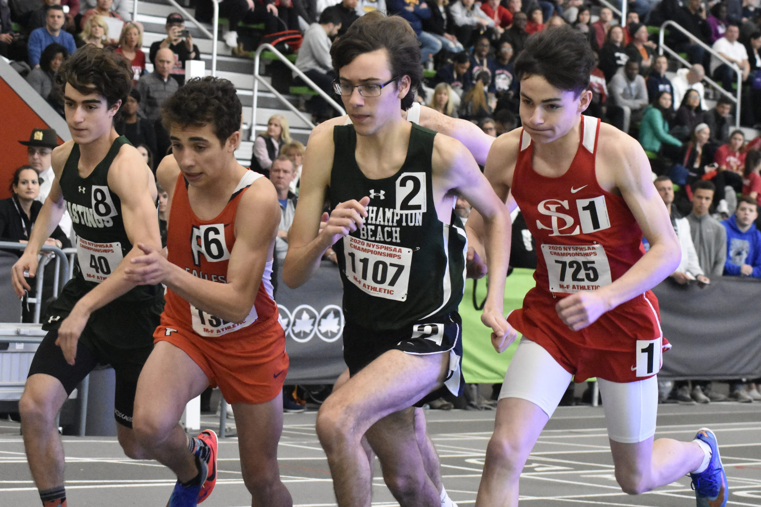 Westhampton Beach sophomore Gavin Ehlers starts the 3,200-meter race at the New York State Indoor Track and Field Championships on Saturday.