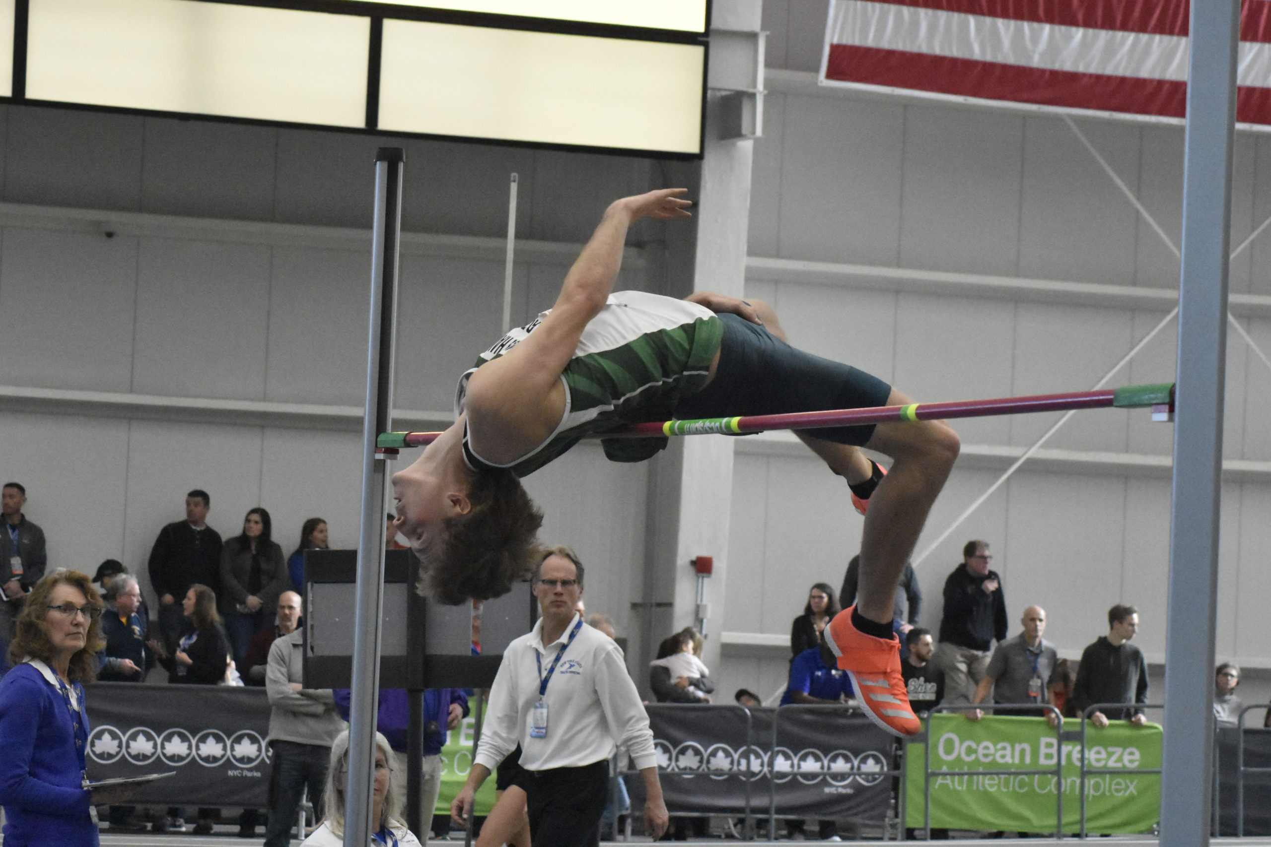 Westhampton Beach senior Jack Meigel in one of his final jumps on Saturday. He cleared 6 feet 6 inches to place third in the state.