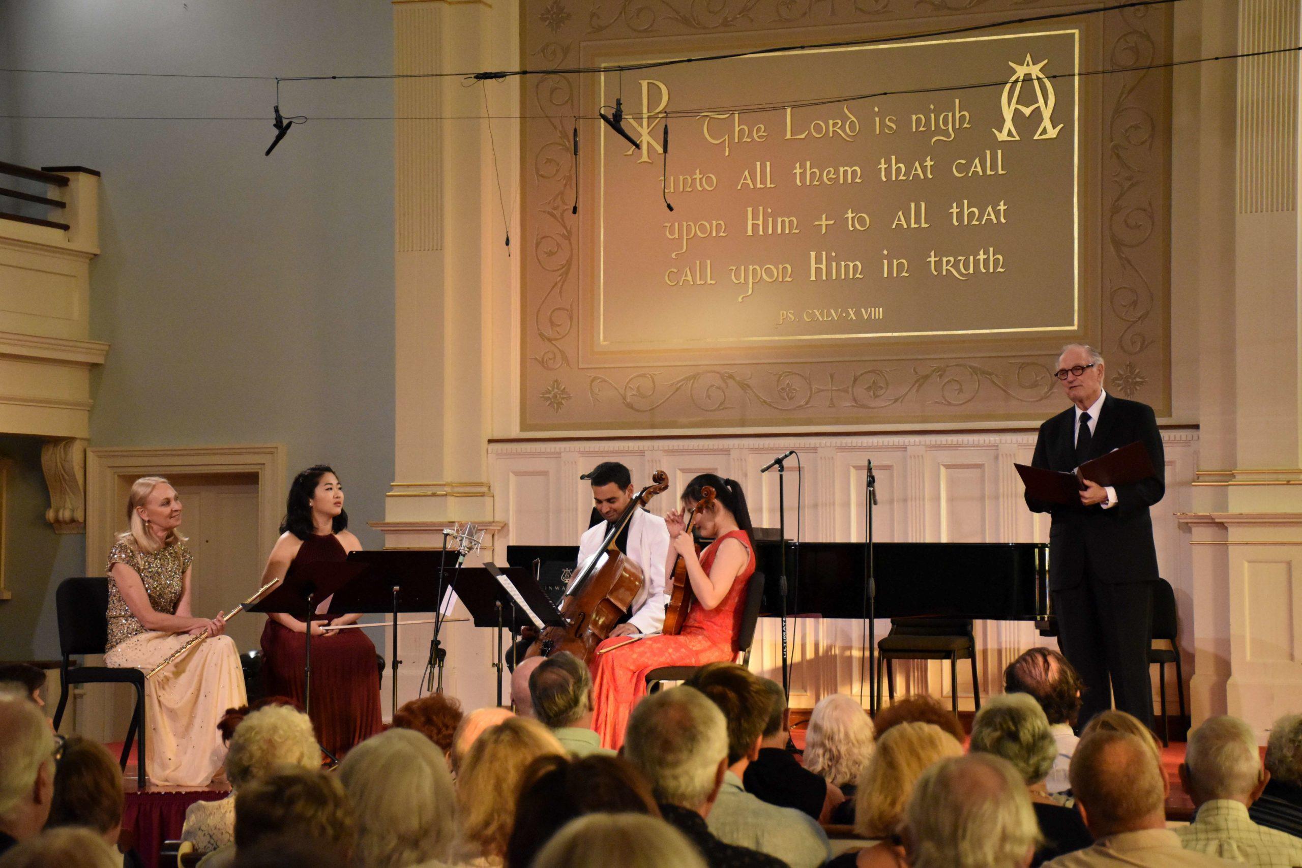 Alan Alda, far right, with Marya Martin (left) and Bridgehampton Chamber Music Festival colleagues during a 2016 concert of the  at the Bridgehampton Presbyterian Church.