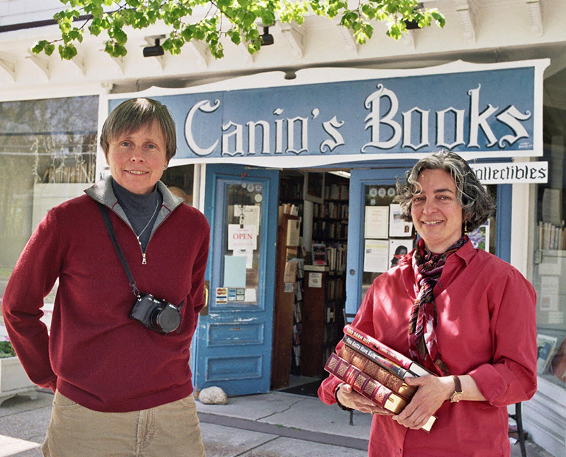 Owners Kathryn Szoka and Maryann Calendrille in front of Canio's Books on Main Street in Sag Harbor.