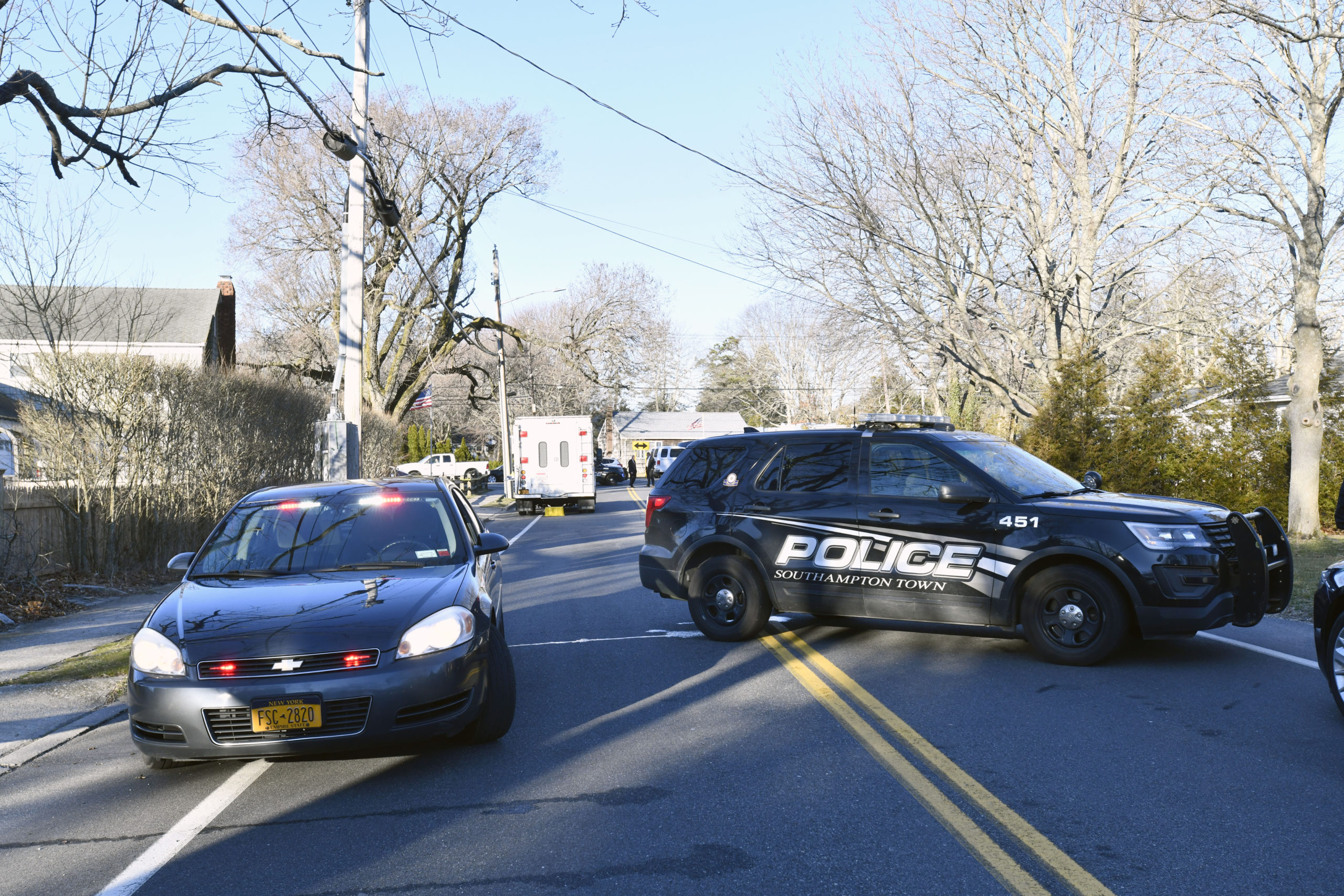 Southampton Town and Suffolk County Police were on the scene Thursday morning of a double shooting that took place on Wednesday night that left two people dead in Hampton Bays.   DANA SHAW