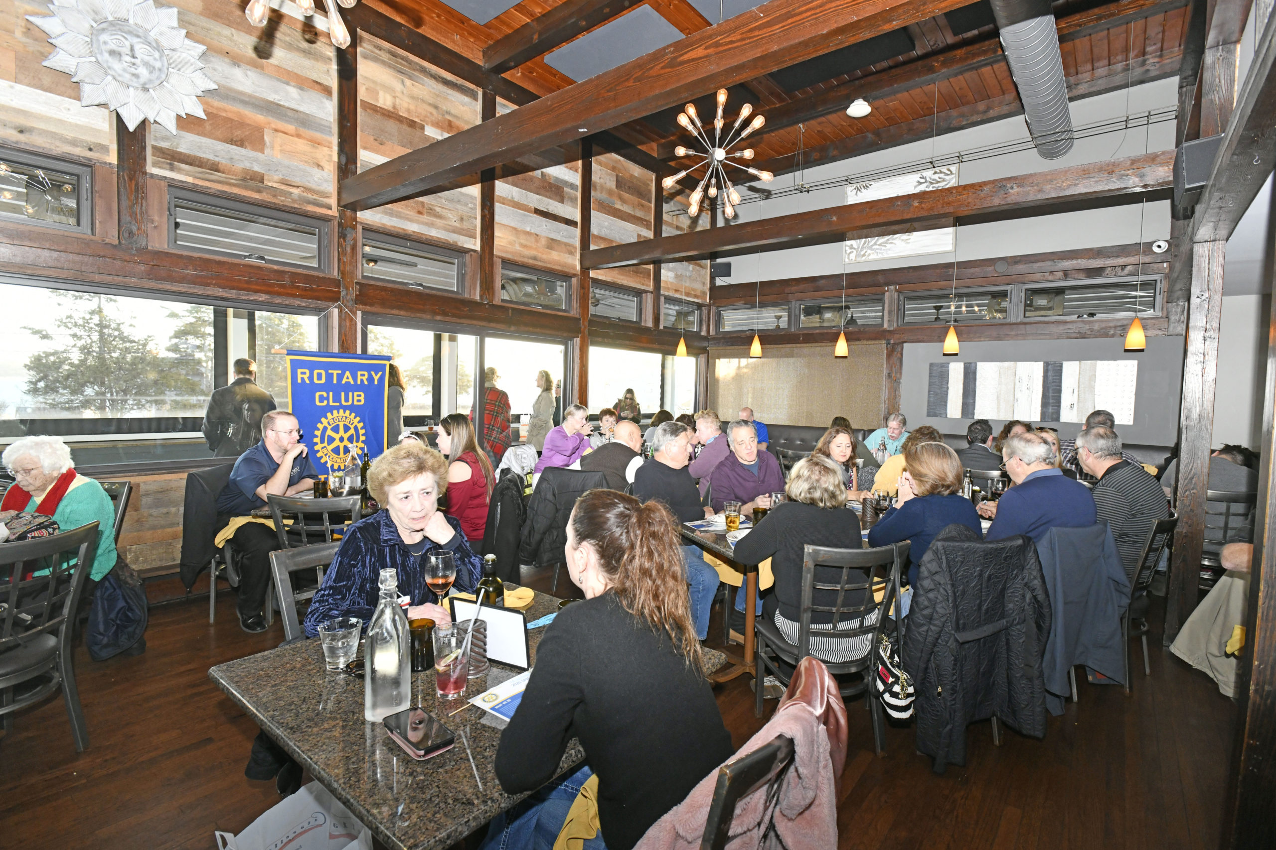 The Edgewater Restaurant in Hampton Bays packed on Monday evening for the annual Southampton Rotary Club spaghetti dinner.  DANA SHAW