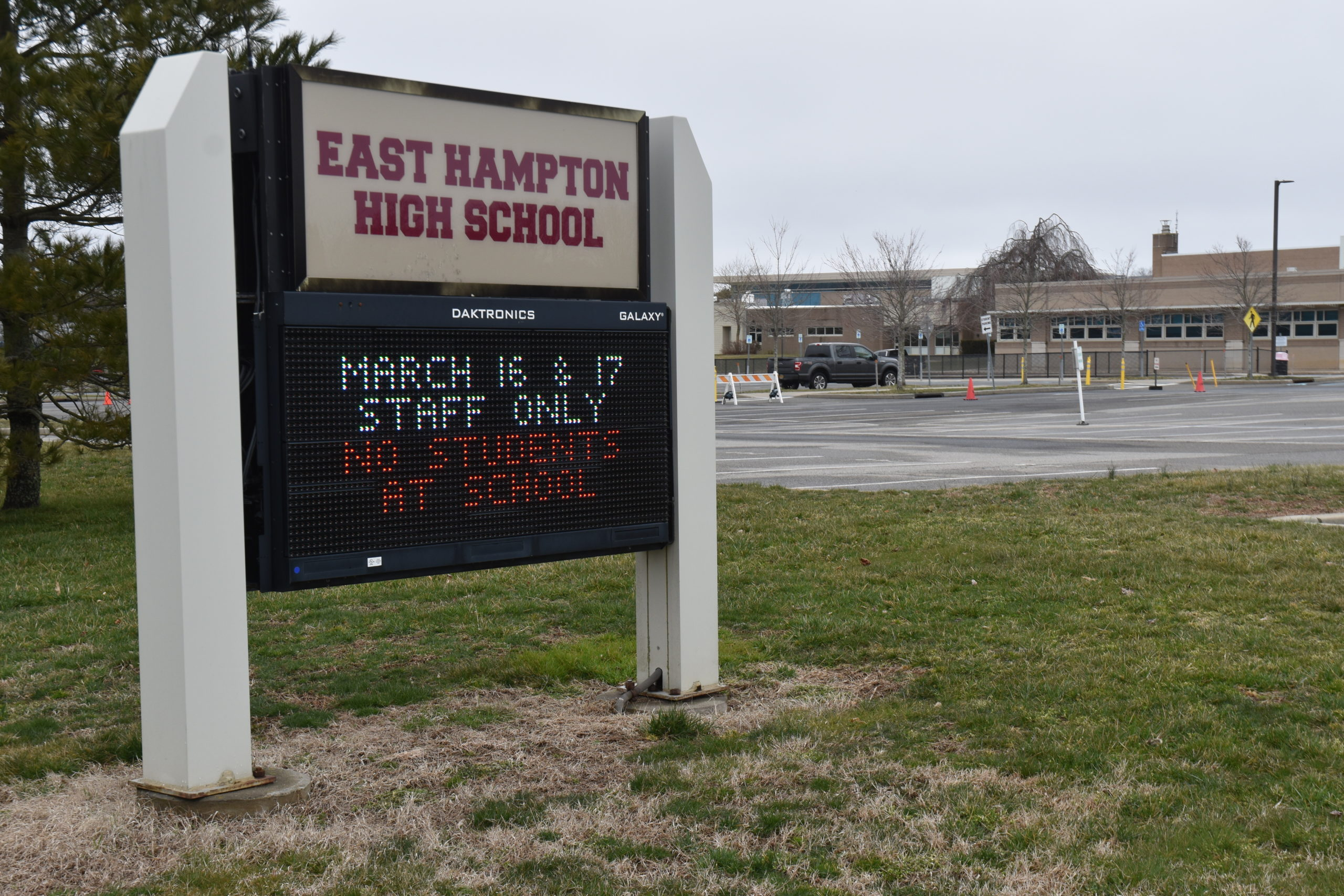 The sign outside East Hampton annoucing a two-day closure is already out of date, as schools throughout Suffolk County have been closed for two weeks following the order of County Executive Steve Bellone. STEPHEN J. KOTZ