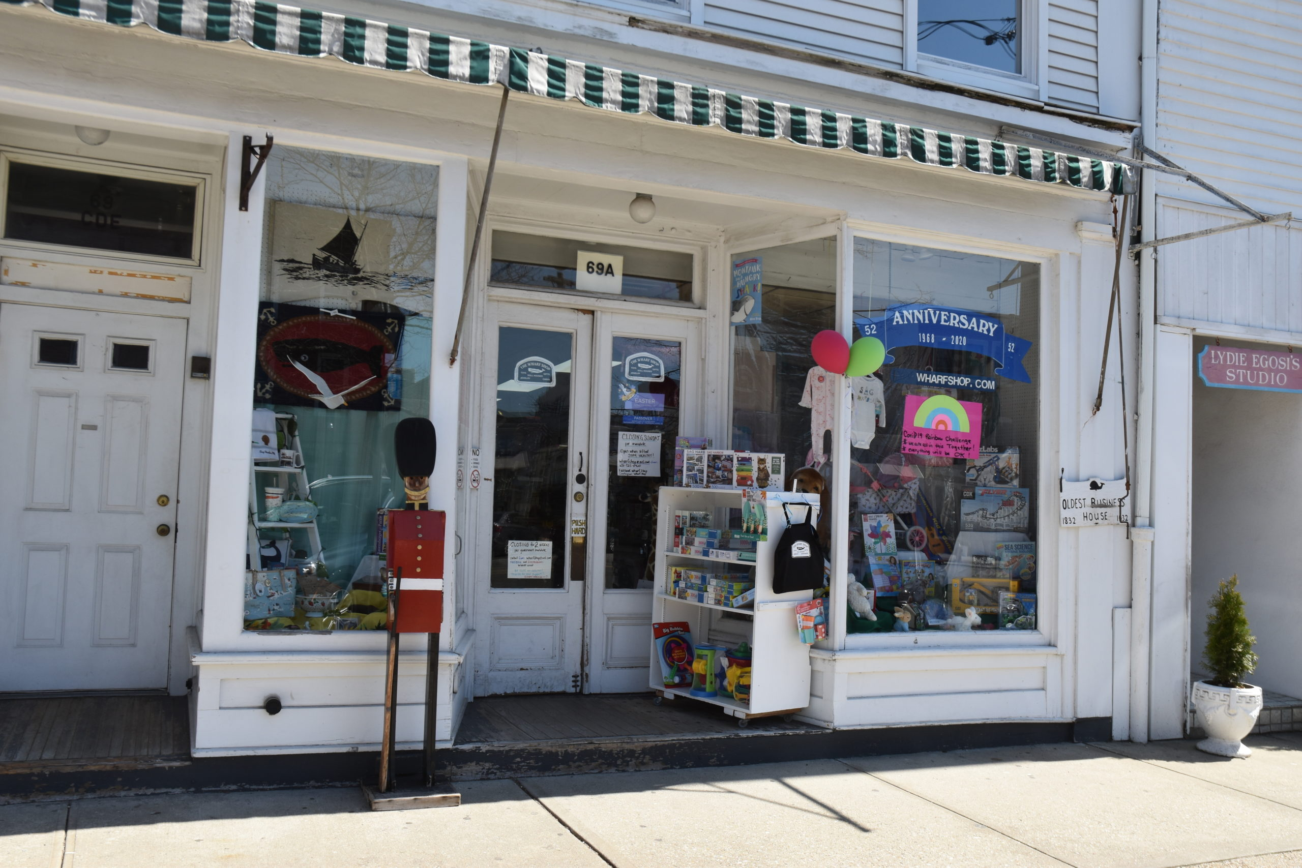 The Wharf Shop, a popular toy store in Sag Harbor, was one of scores of local businesses to close following Governor Cuomo's order. STEPHEN J. KOTZ
