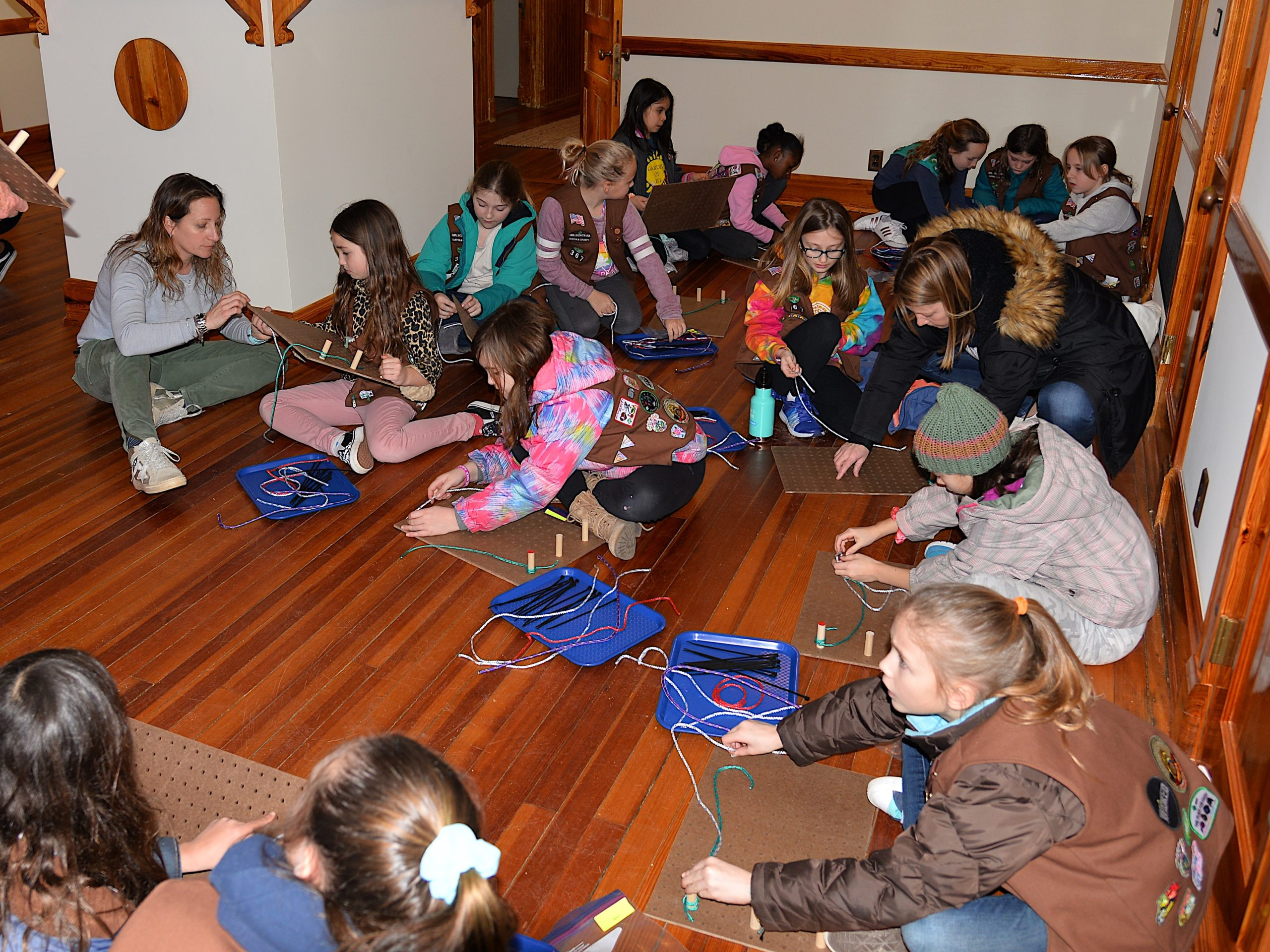 Girl Scouts learned how to tie knots on Friday at the Amagansett Lifesaving Station, with instructors Britton Bistrian and Stewart Close.