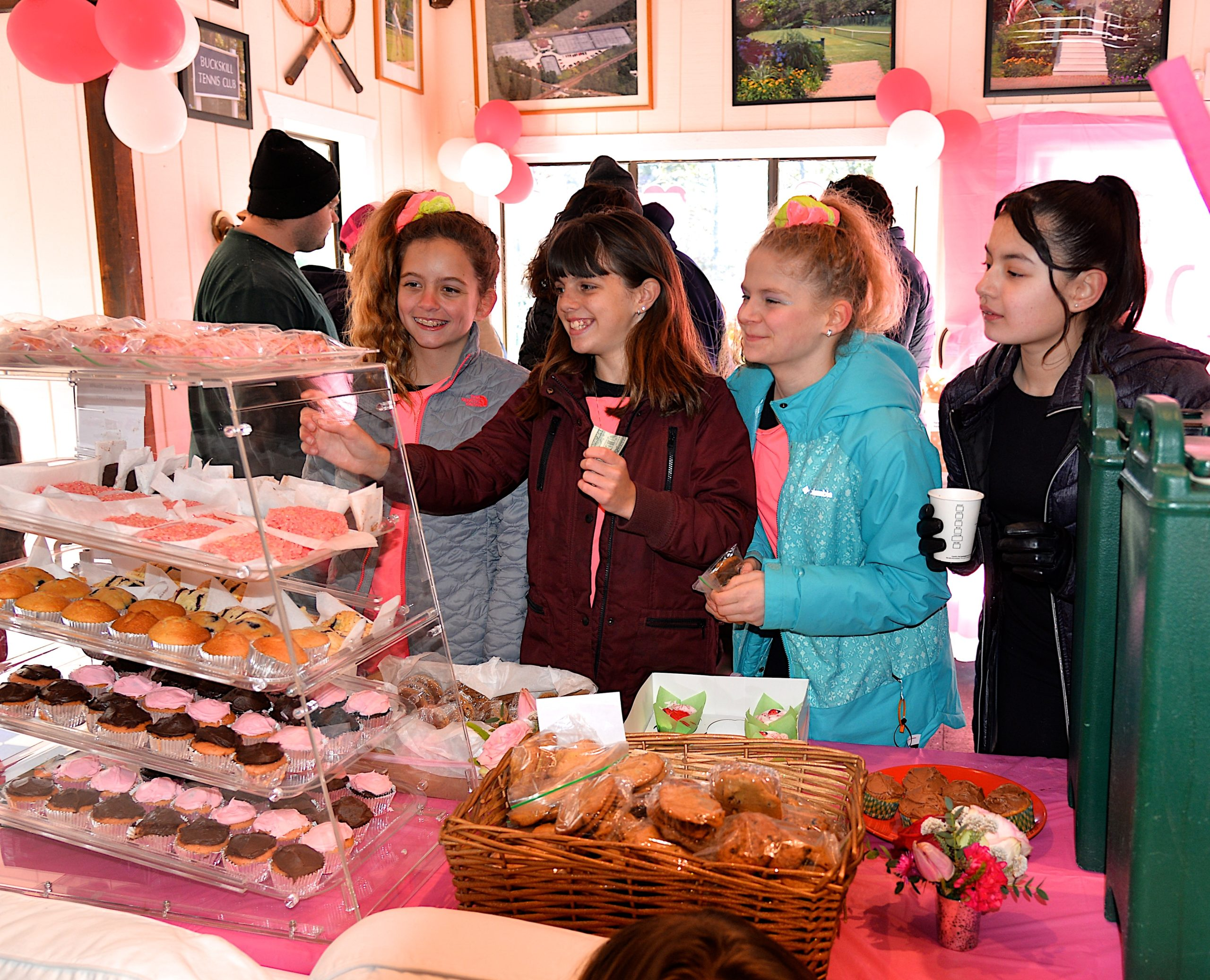 The ninth annual Katy's Courage skate-a-thon was held at the Buckskill Winter Club Sunday, raising funds for the education, support and pediatric cancer research. Checking out the sweets at the bake sale are, Kelly Lynch, Emily Anderson, Zoe Weaver and Allandra Marin. KYRIL BROMLEY