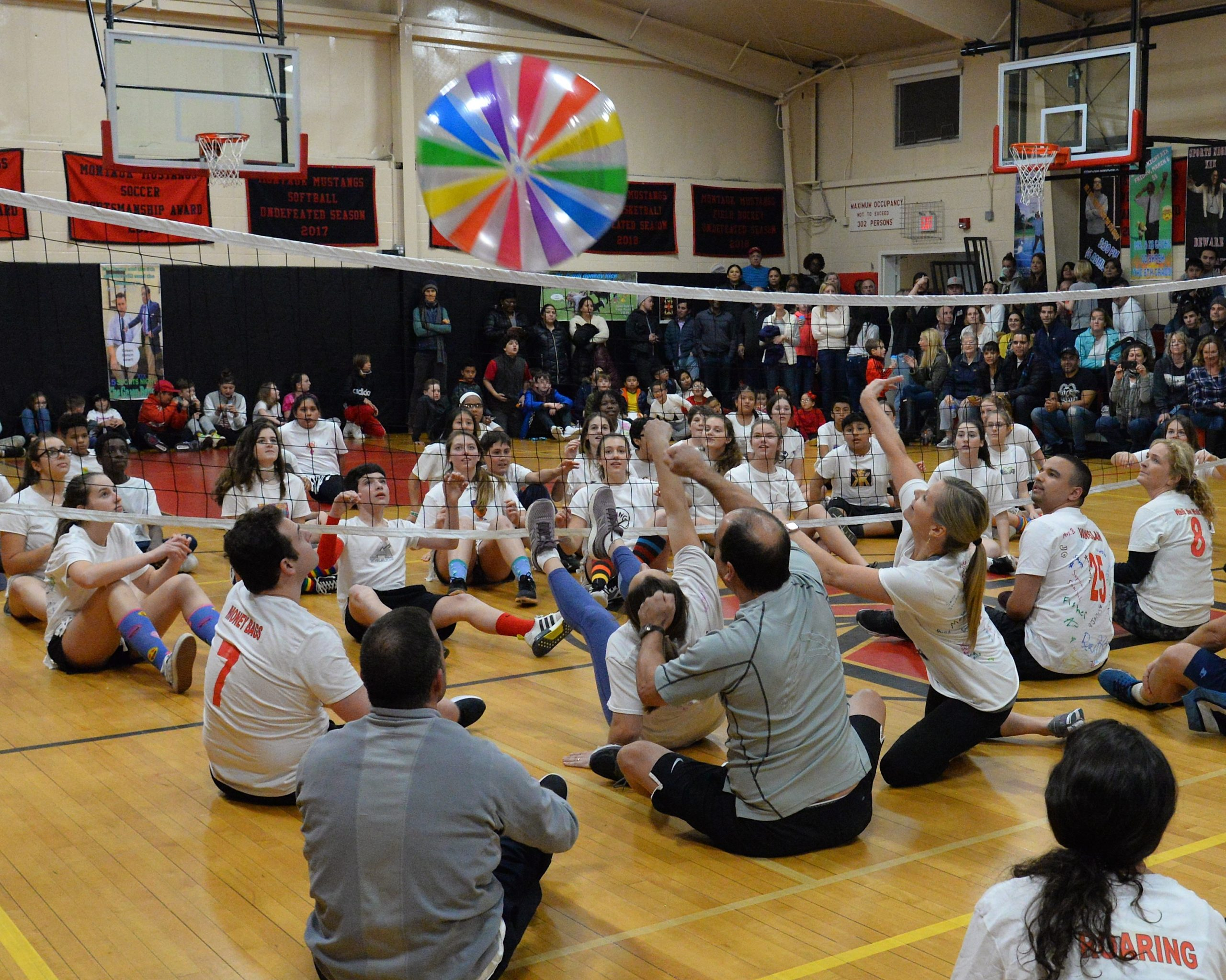 Montauk School held its Sports Night on Friday, during which teachers and eighth grade students competed in a variety of contests before a packed house of cheering students and parents. KYRIL BROMLEY