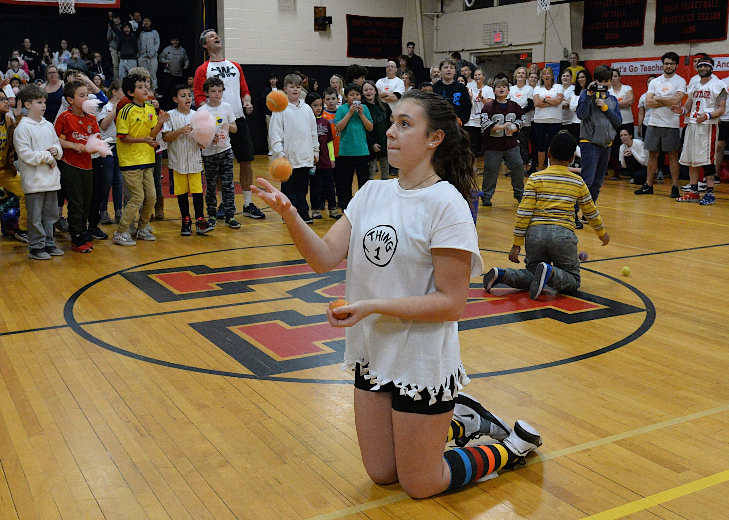 Montauk School held its Sports Night on Friday, during which teachers and eighth grade students competed in a variety of contests before a packed house of cheering students and parents. Katie Kuneth won the juggling event. KYRIL BROMLEY