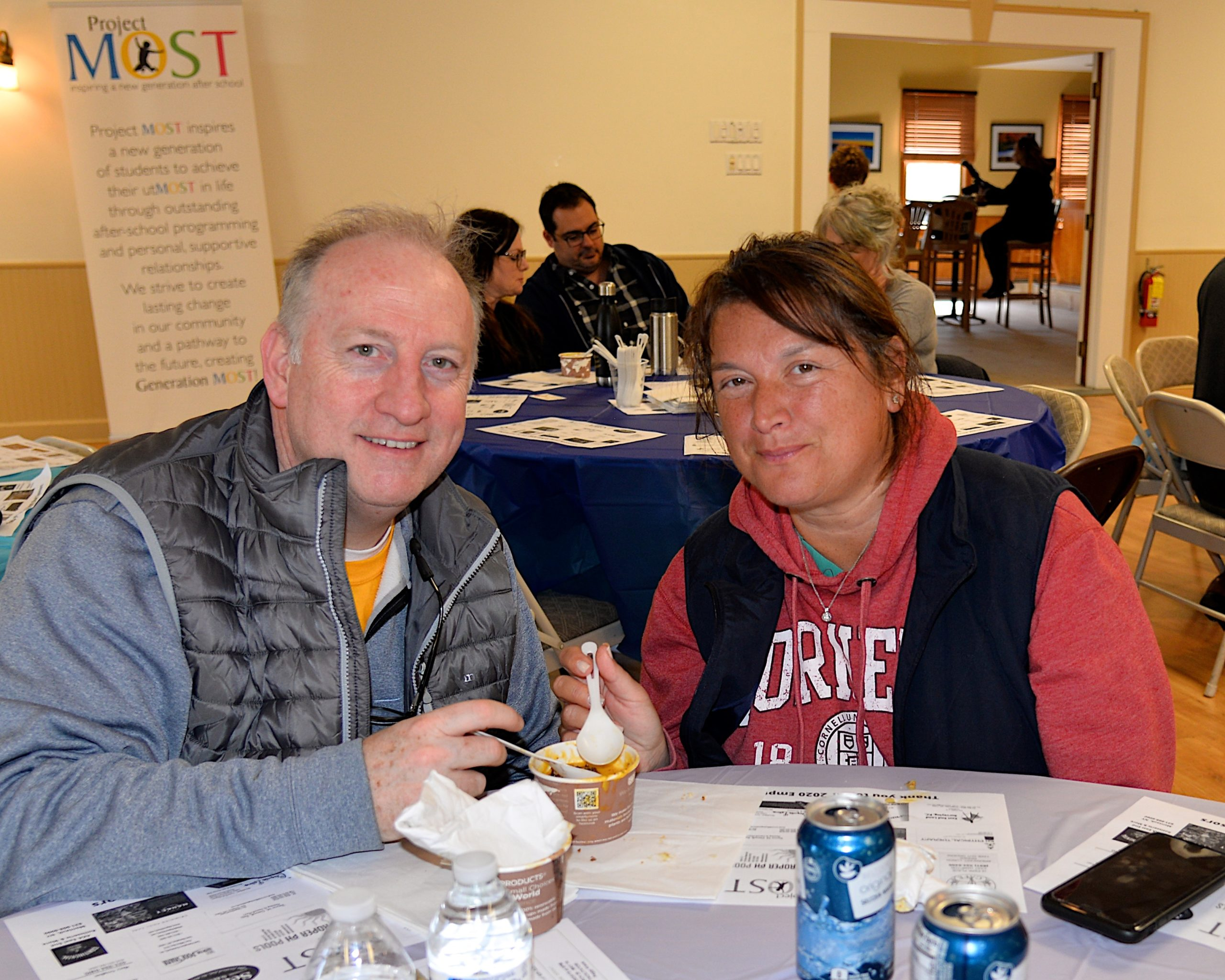 Empty Bowls, a fundraiser for Project Most, with soups from local chefs and restaurants took place at the Amagansett American Legion hall on Sunday.  Brian and Mariela Raeburn turned out for the cause. KYRIL BROMLEY