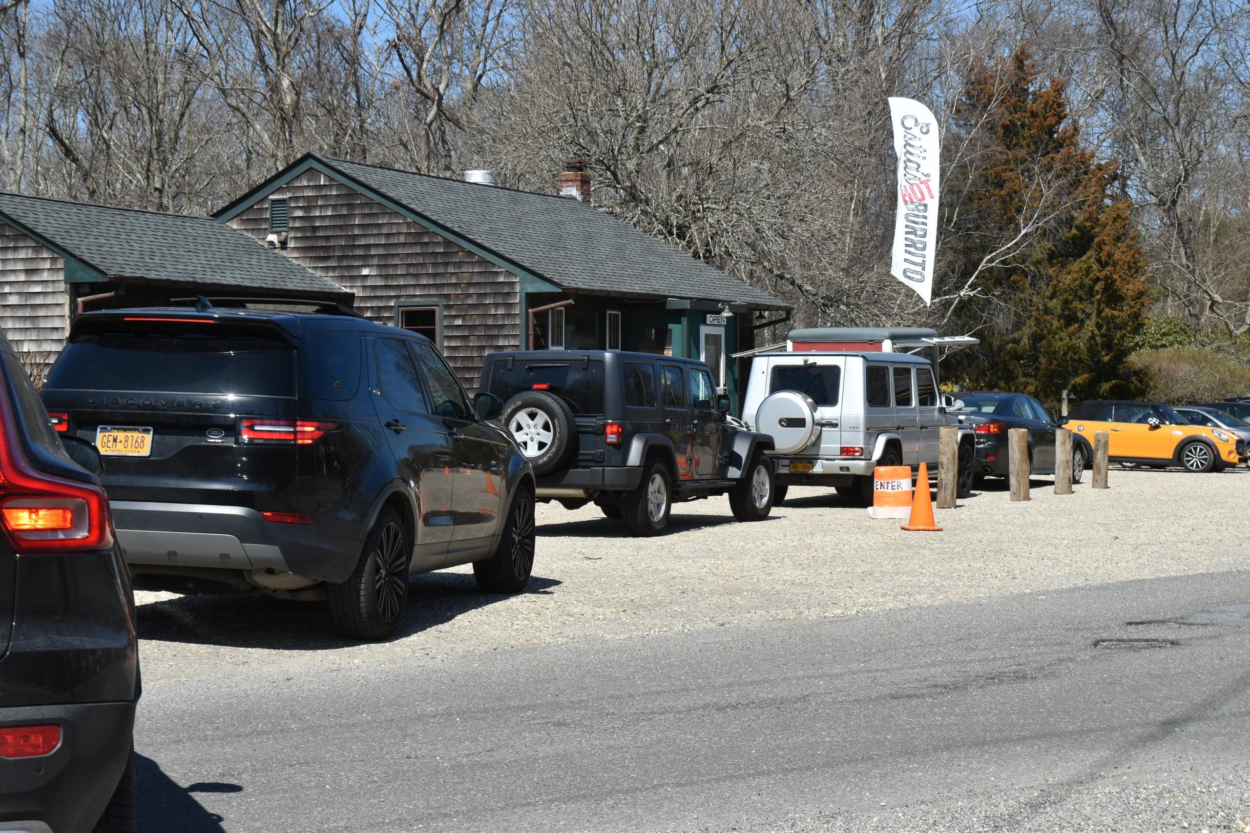 A lineup for takeout at Estia's Little Kitchen in Sag Harbor on Saturday.