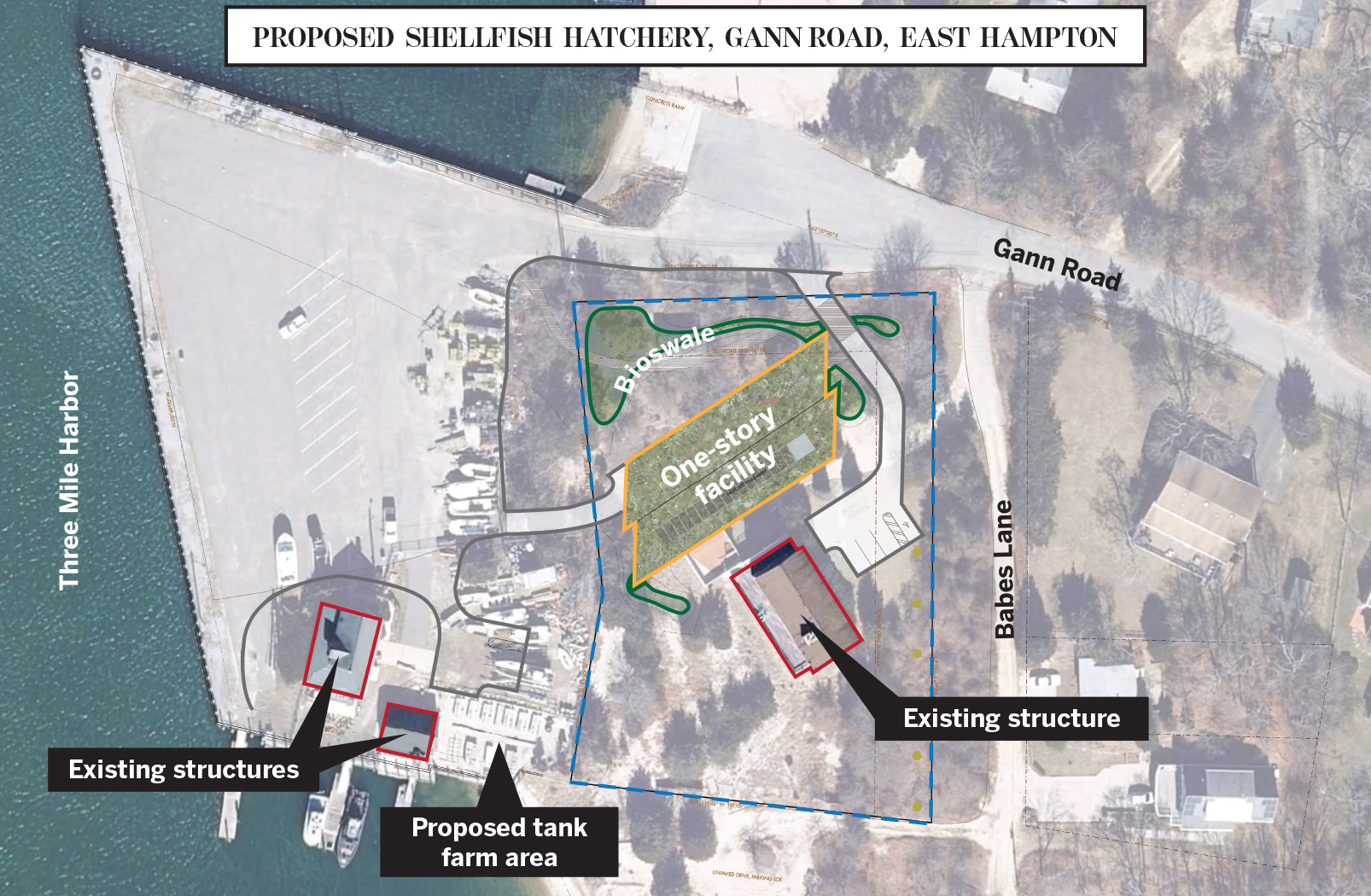 The town's plans for the Gann Road property call for linking the new hatchery facility to the existing town parking lot and hatchery operations.