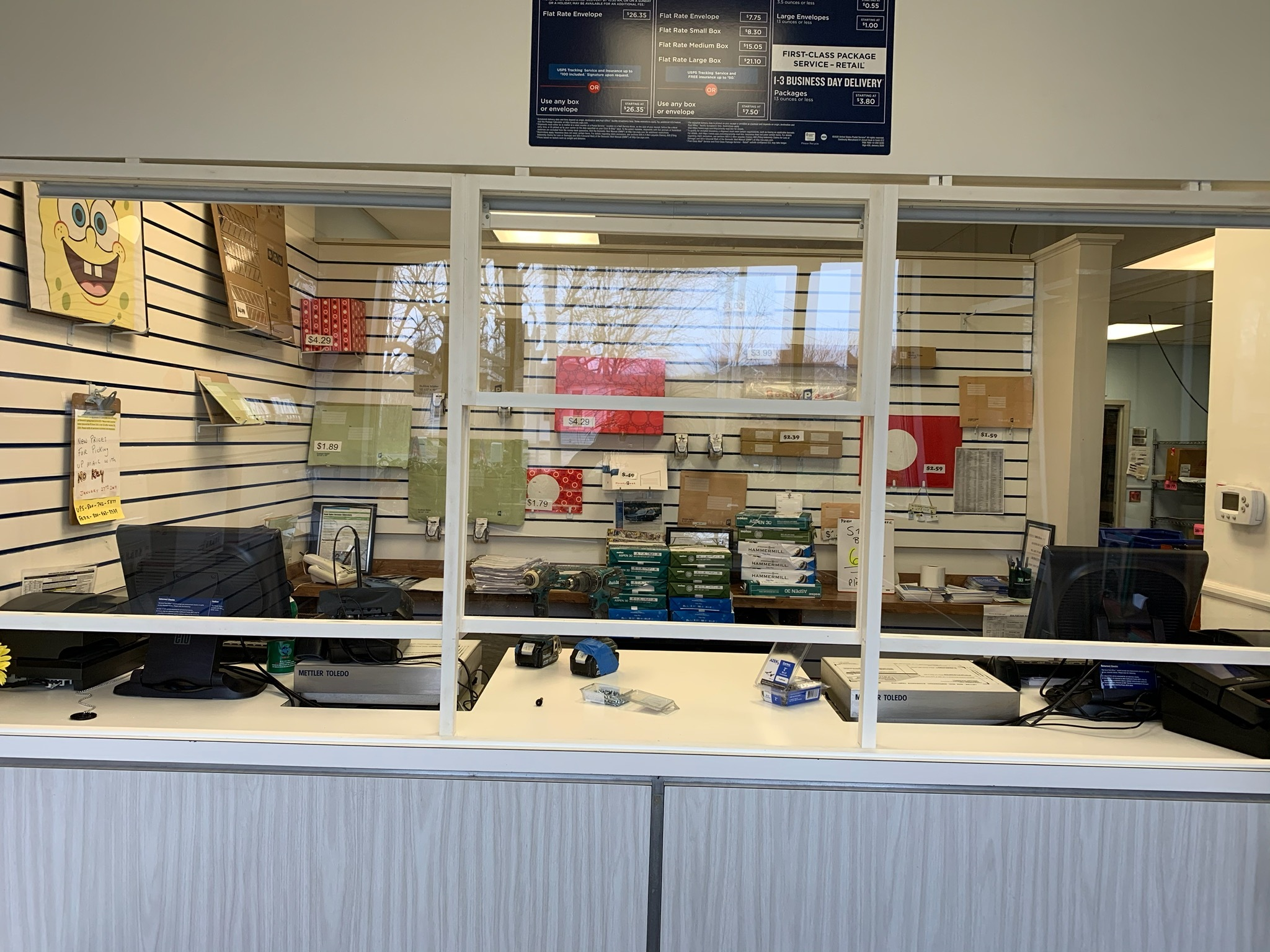 At the Speonk Post Office, new acryllic windows were installed to protect workers and the public.