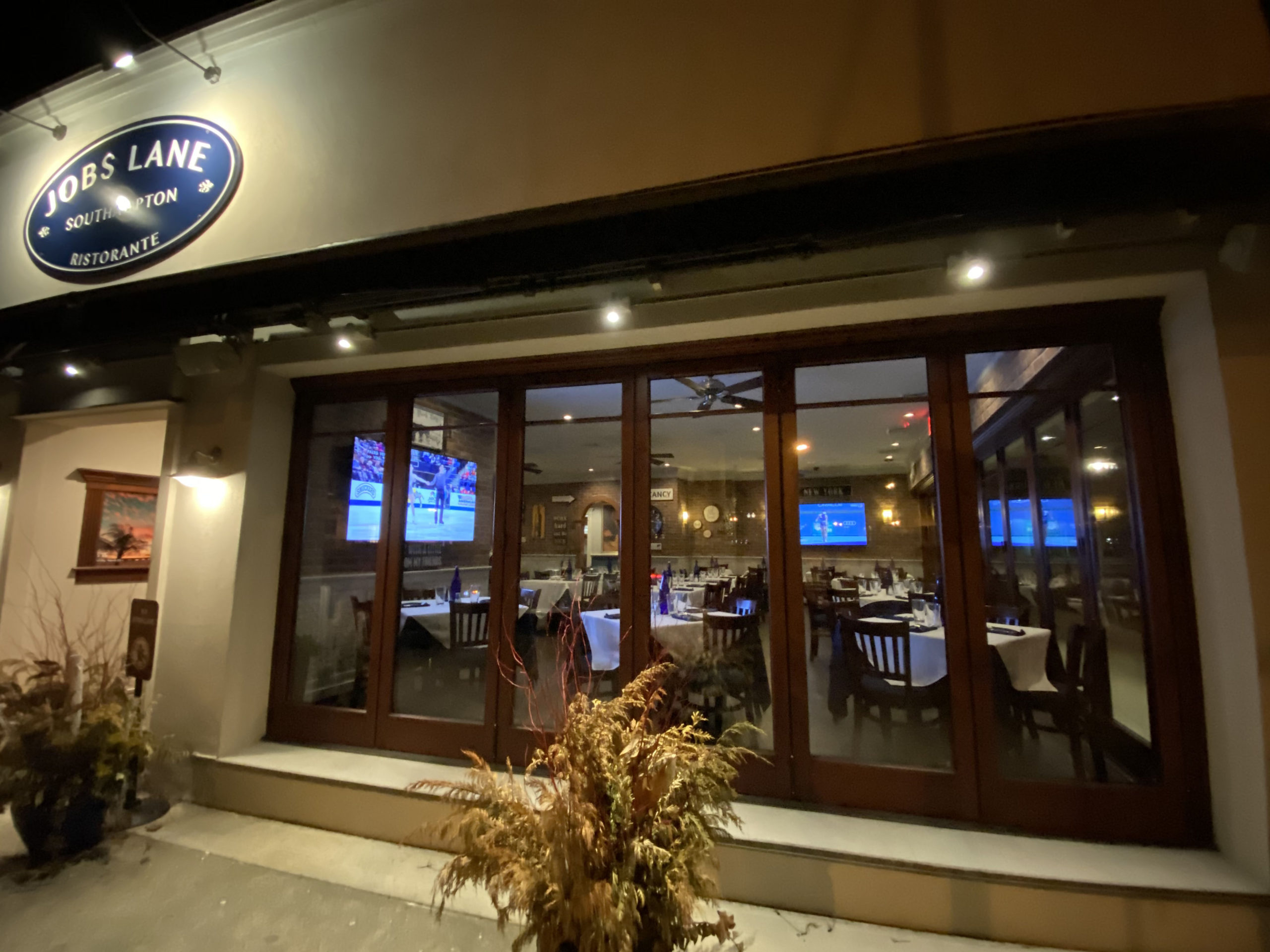 Jobs Lane Ristorante in Southampton Village was closed to diners on Sunday evening, but offering takeout.   DANA SHAW