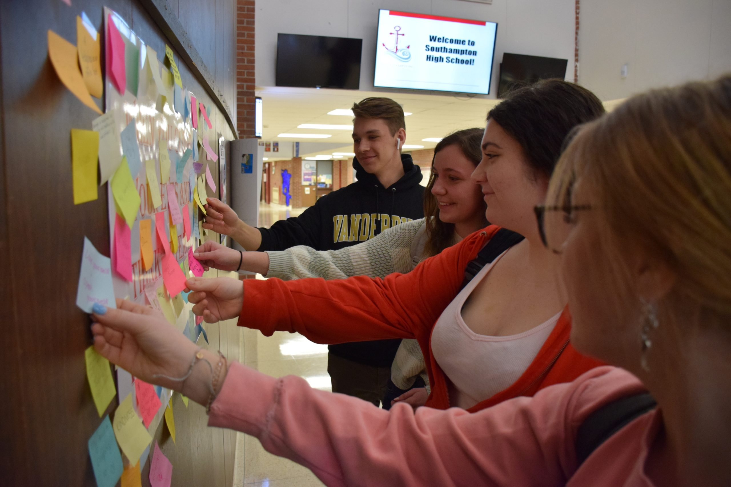 To mark Black History Month, Southampton High School students were encouraged to write messages of peace on Post-it notes and share them on a display in the school's main lobby. Students wrote powerful words about the importance of peace and what it means to them.