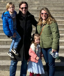 """The family at the """"Rocky Steps"""" in Philadelphia in February. Brett and Kelly with Jackson and Piper."""