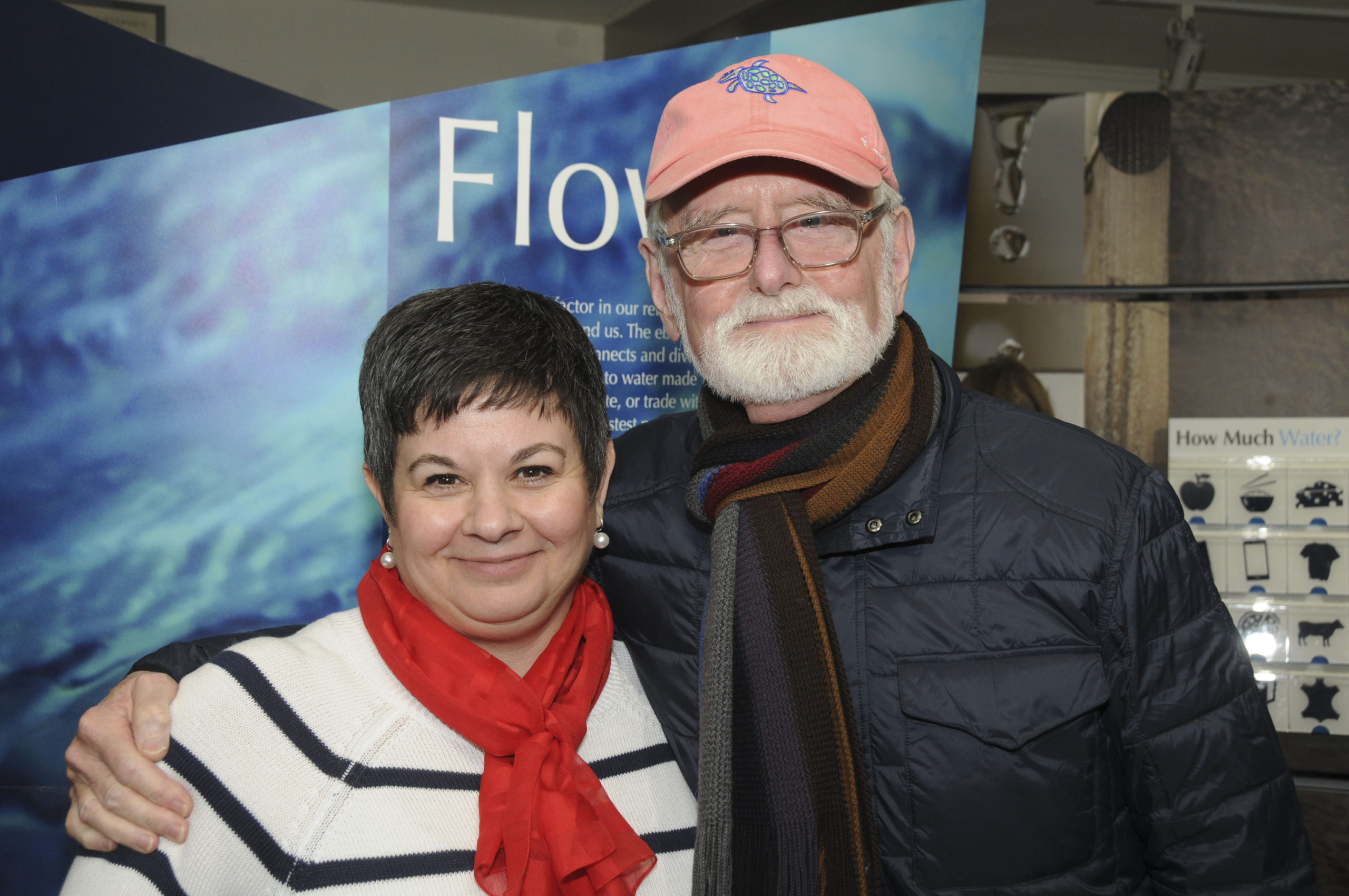 Maria Vann and Richard Barons at the opening of Smithsonian Institution's traveling exhibition, Water/Ways, at Clinton Academy Museum on Saturday.    RICHARD LEWIN
