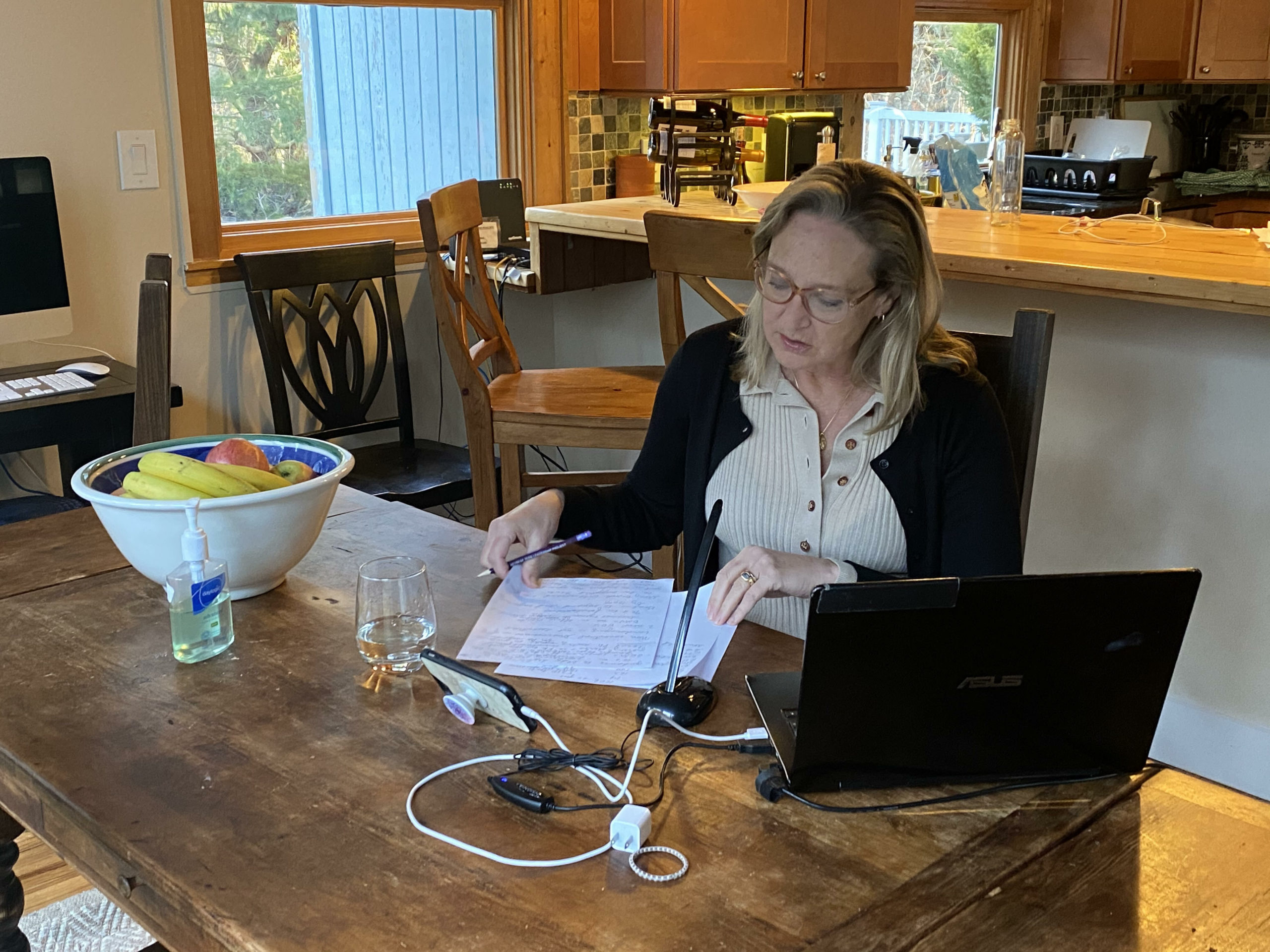 Suffolk County Legislator Bridget Fleming has been working at her dining room table, fielding calls and hosting daily updates for the media.