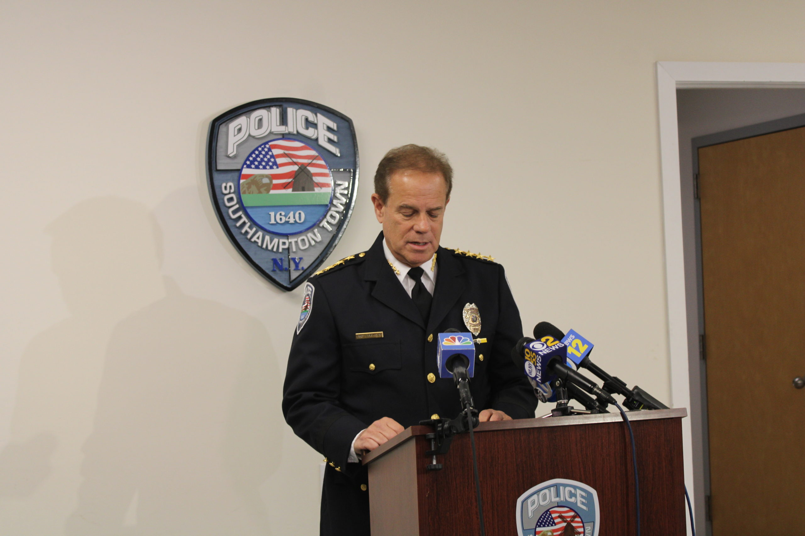 Southampton Town Chief of Police Steven Skrynecki at the press conference Thursday morning.