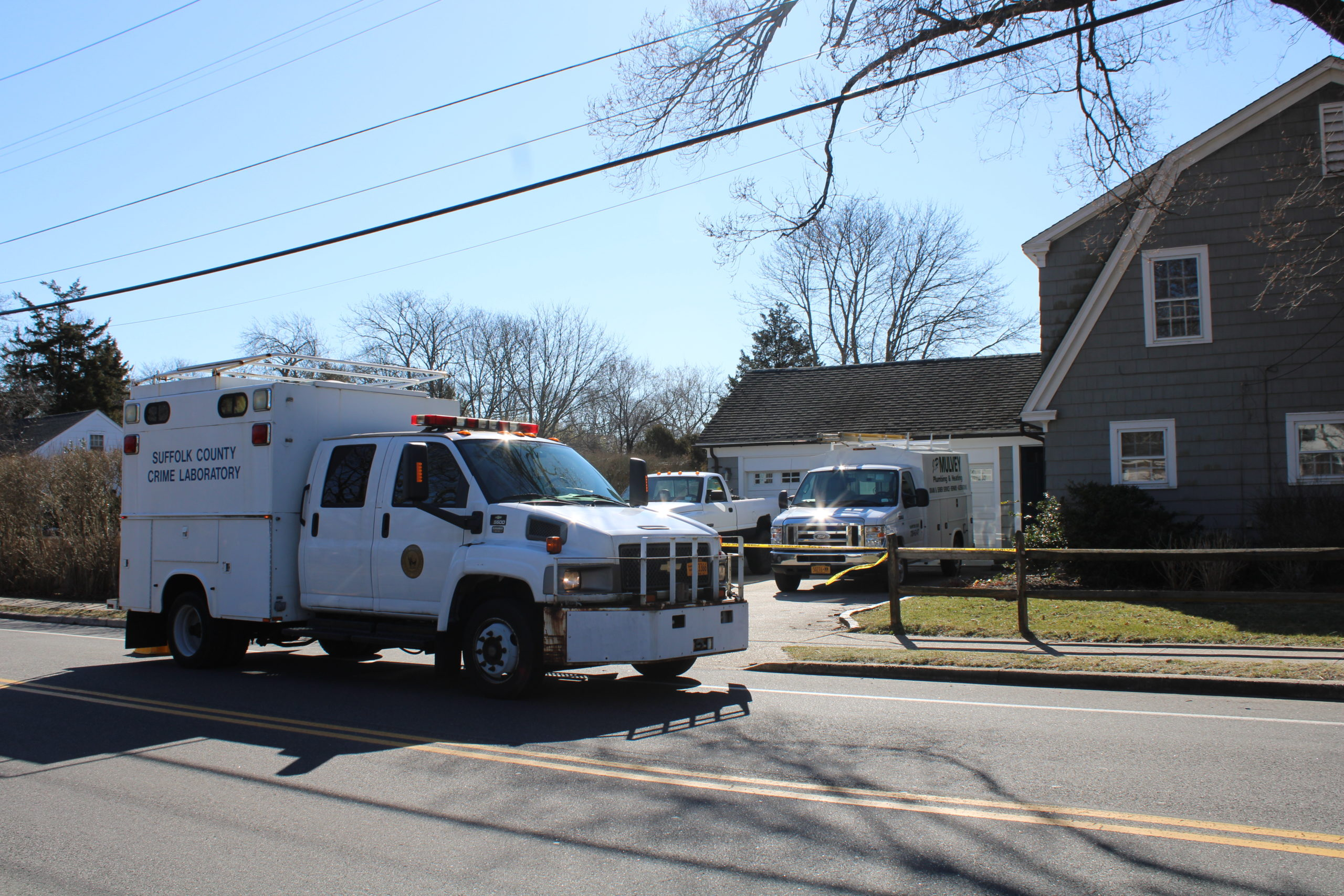 Southampton Town and Suffolk County Police were on the scene Thursday morning of a double shooting that took place on Wednesday night that left two people dead in Hampton Bays.