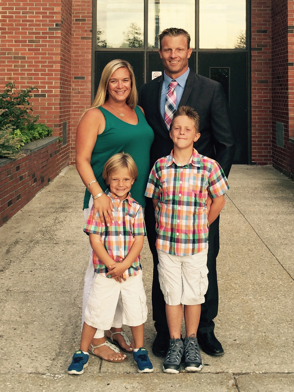 Eric Bramoff, top right, with his family when he took the athletic director position at Pierson in 2015.