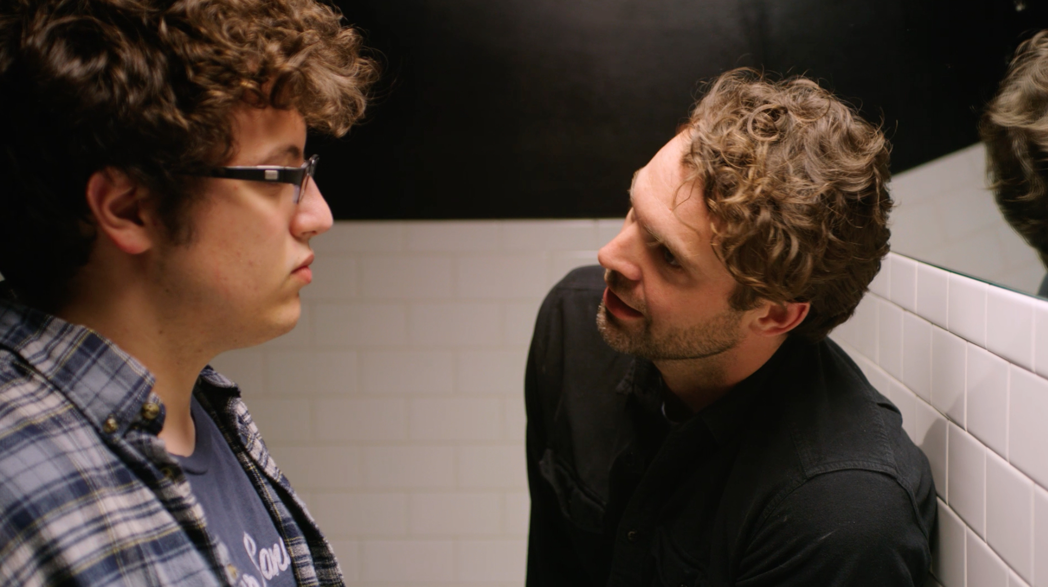 Actors Dimitri Spiridakis (Danny), left, and Rob Hancock (Tony) in a pivotal moment between father and son in