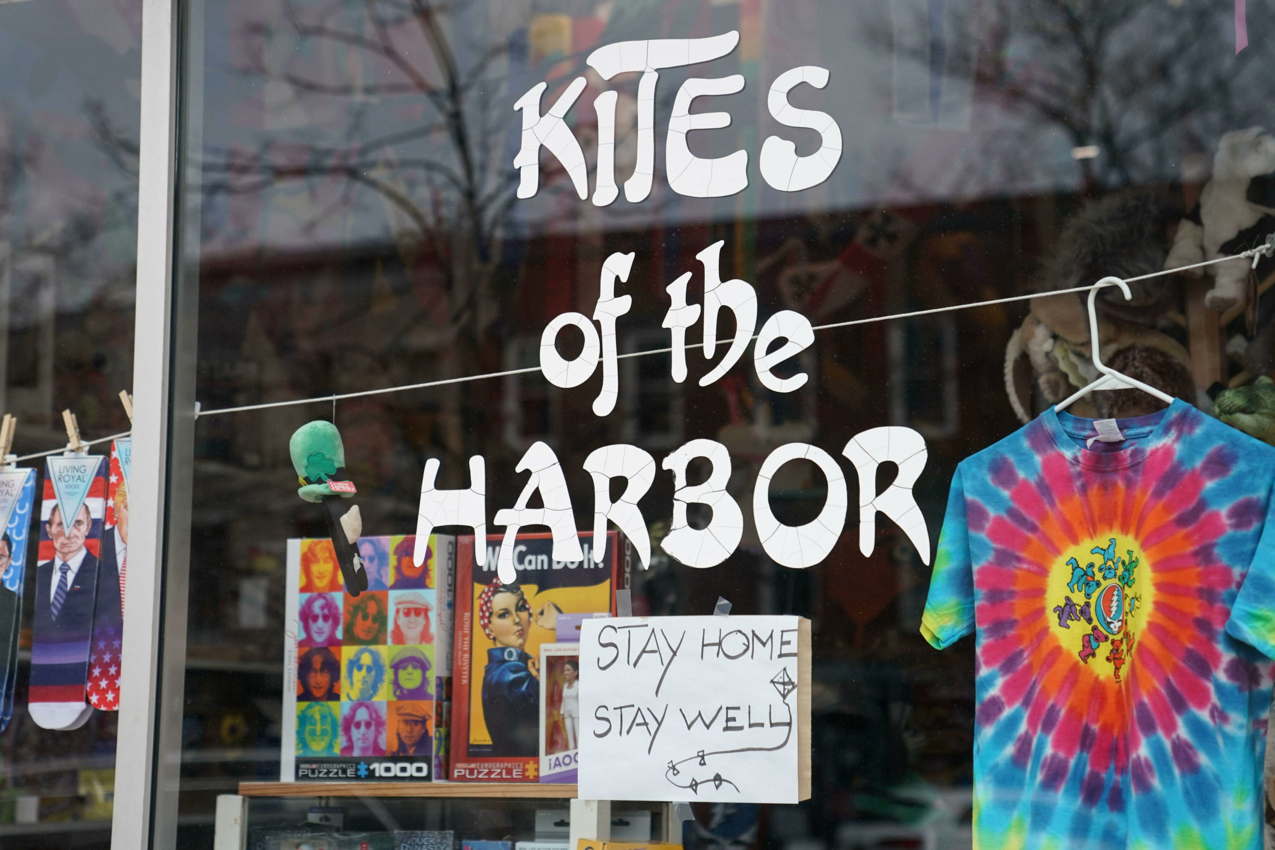 Sag Harbor's iconic Main Street store, Kites of the Harbor, encourgaed safety this week.