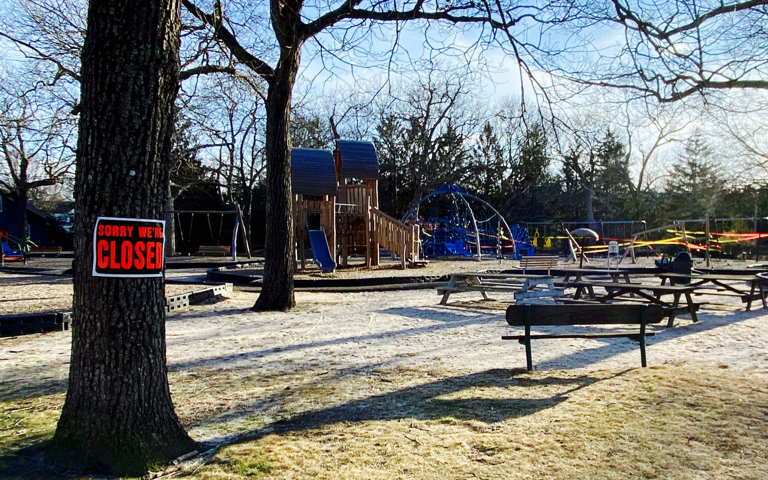 Mashashimuet Park's playground, like all playgrounds, is closed to promite social distancing.