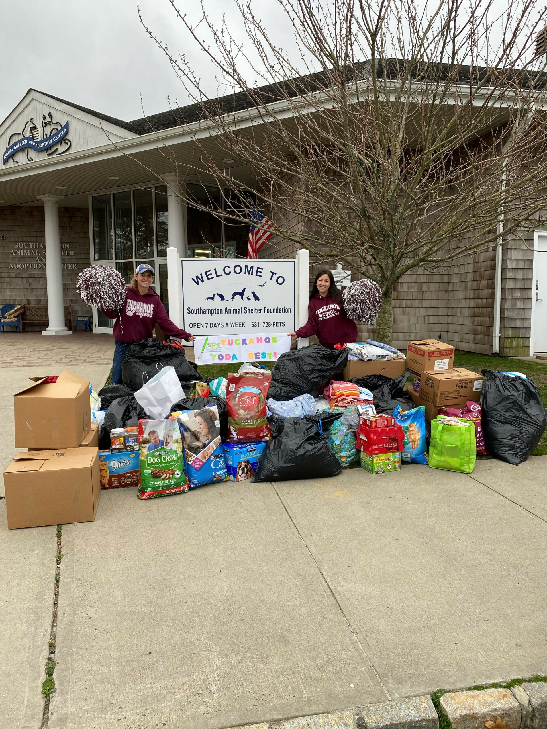 Teachers from the Tuckahoe Common School District delivery donations to the Southampton Animal Shelter Foundation.