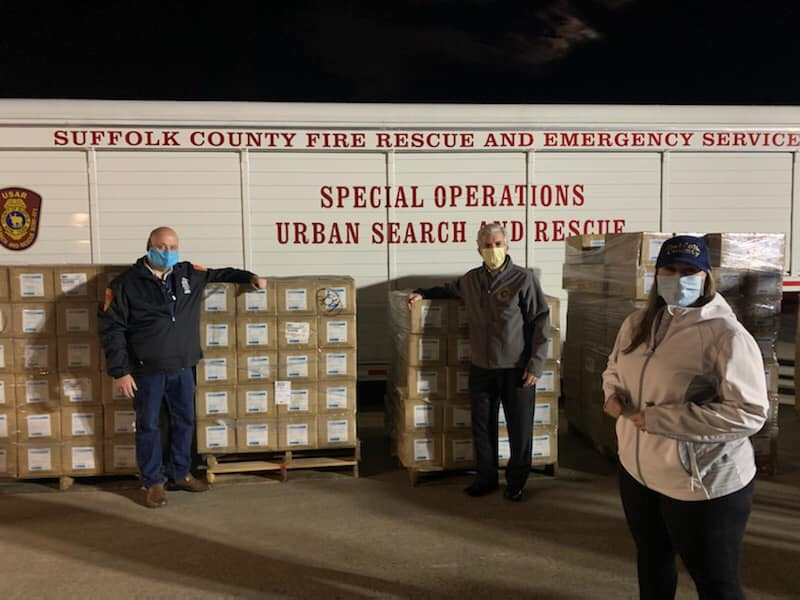 County Executive Steve Bellone greets the delivery of N95 masks on Tuesday.