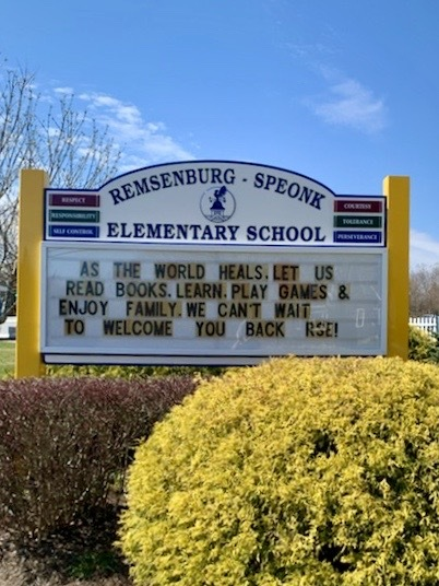 The Remsenburg-Speonk Elementary School had its new sign installed Thursday.