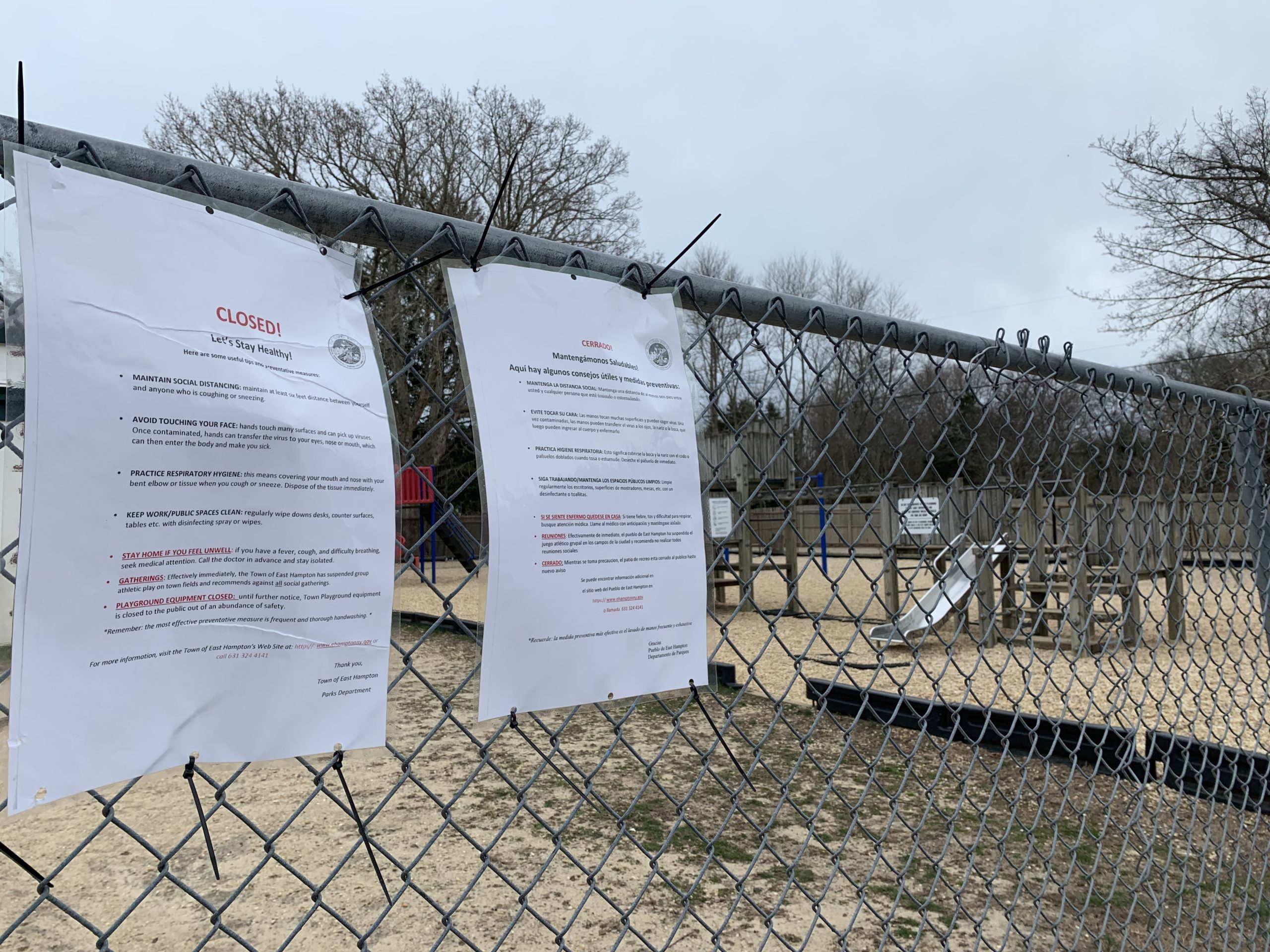 The playground at Springs School remains closed due to the COVID-19 virus outbreak.