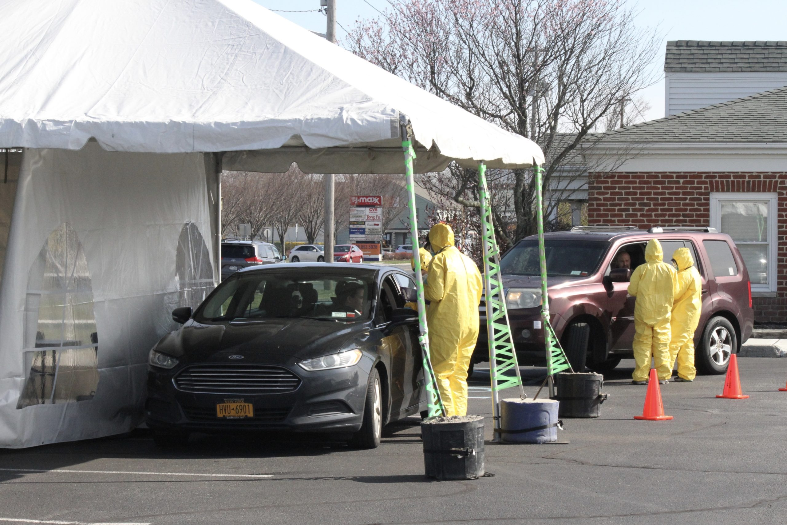 A drive-thru COVID-19 testing site opened at ProHEALTH urgent care clinic in Riverhead on Monday.