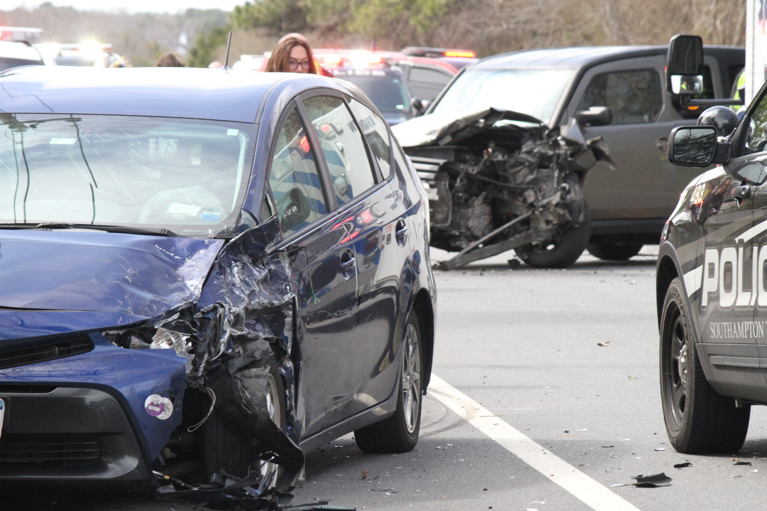 A two-car crash near the Shinnecock Indian Reservation on Thursday closed Montauk Highway in both directions.