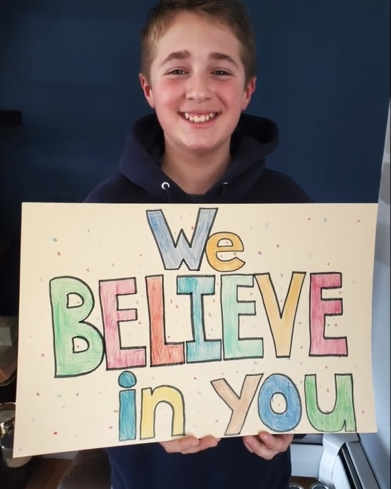 Pierson seventh grader Adam Drohan opened a special video created for healthcare workers with a message: