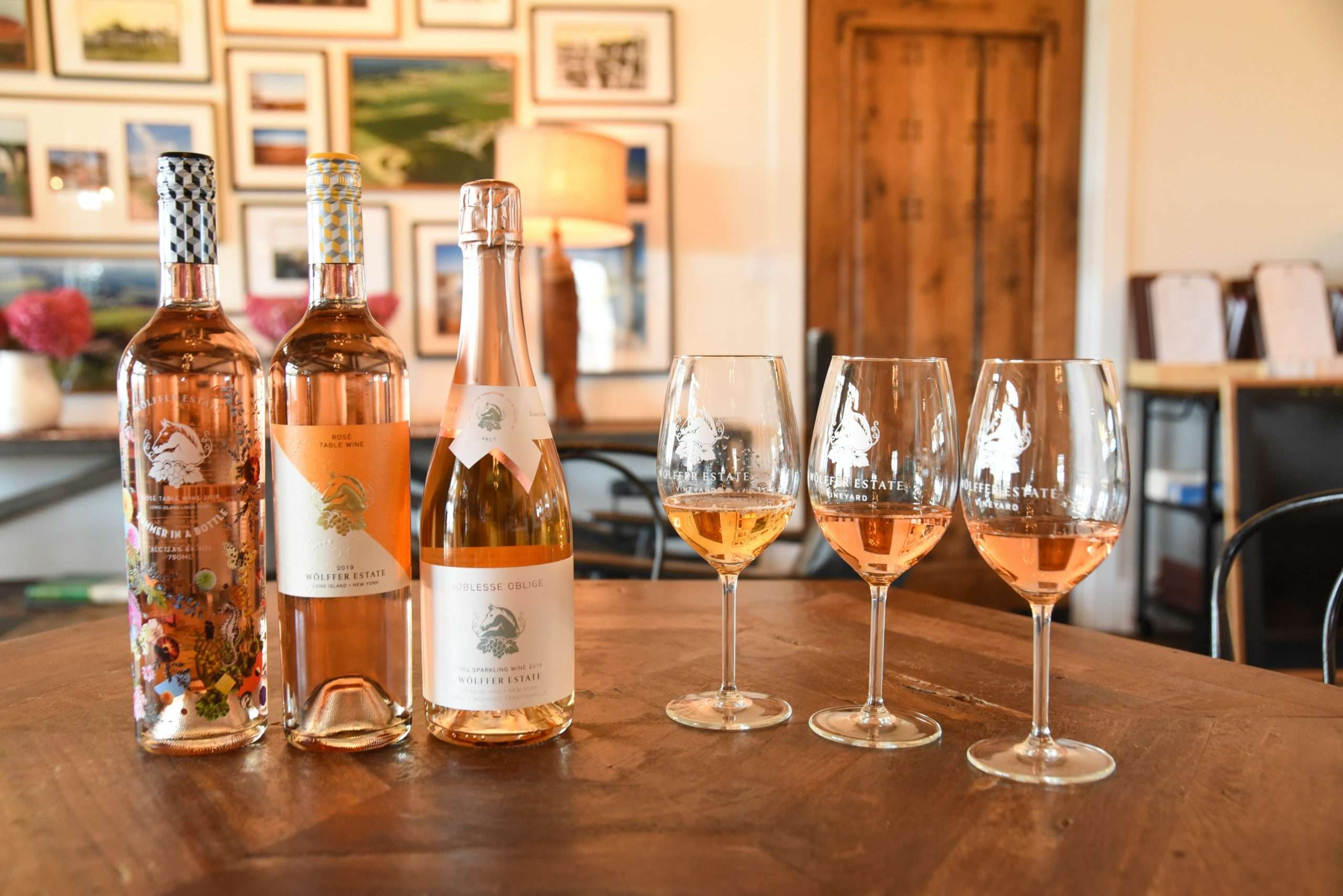 Wolffer Estate Vineyard Rose Tasting line-up.