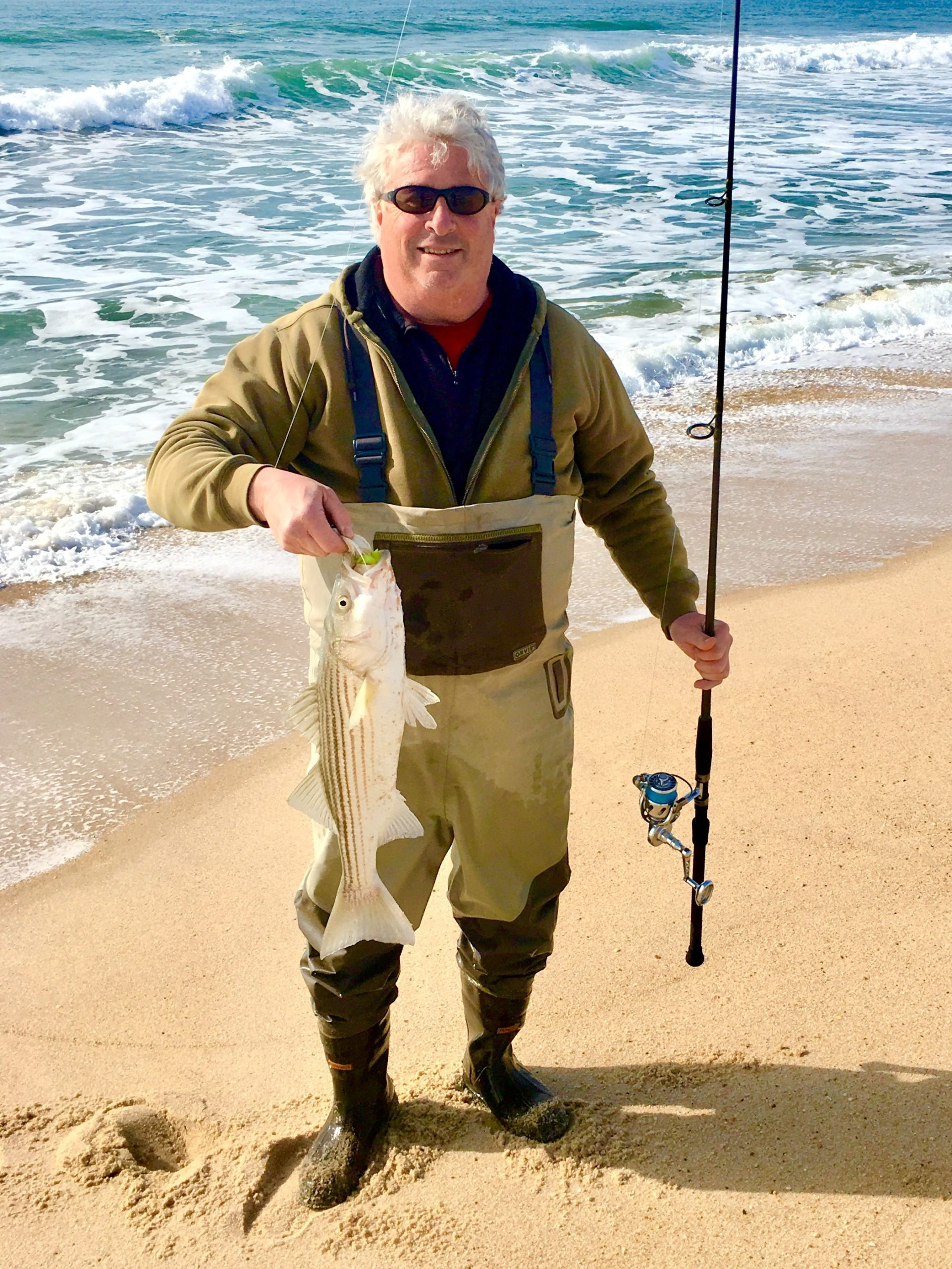Adam Flax with one of the many small striped bass that are now roaming the South Fork surf.