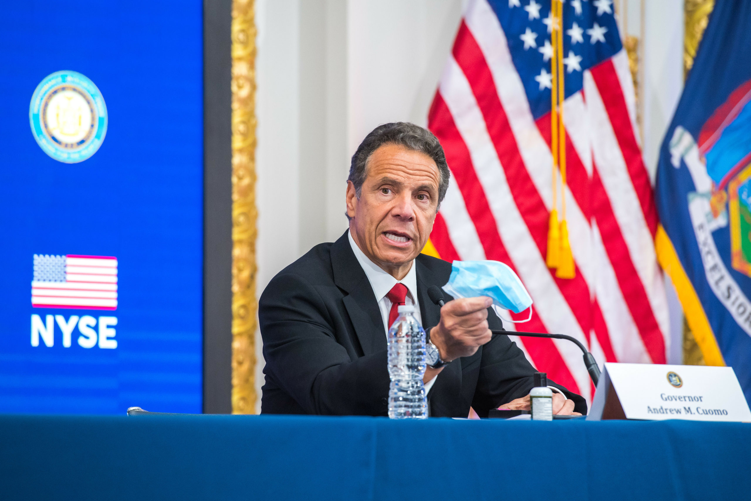 Annoucing the reopening of Long Island from The New York Stock Exchange Tuesday, Governor Andrew Cuomo reminded New Yorkers to wear masks.