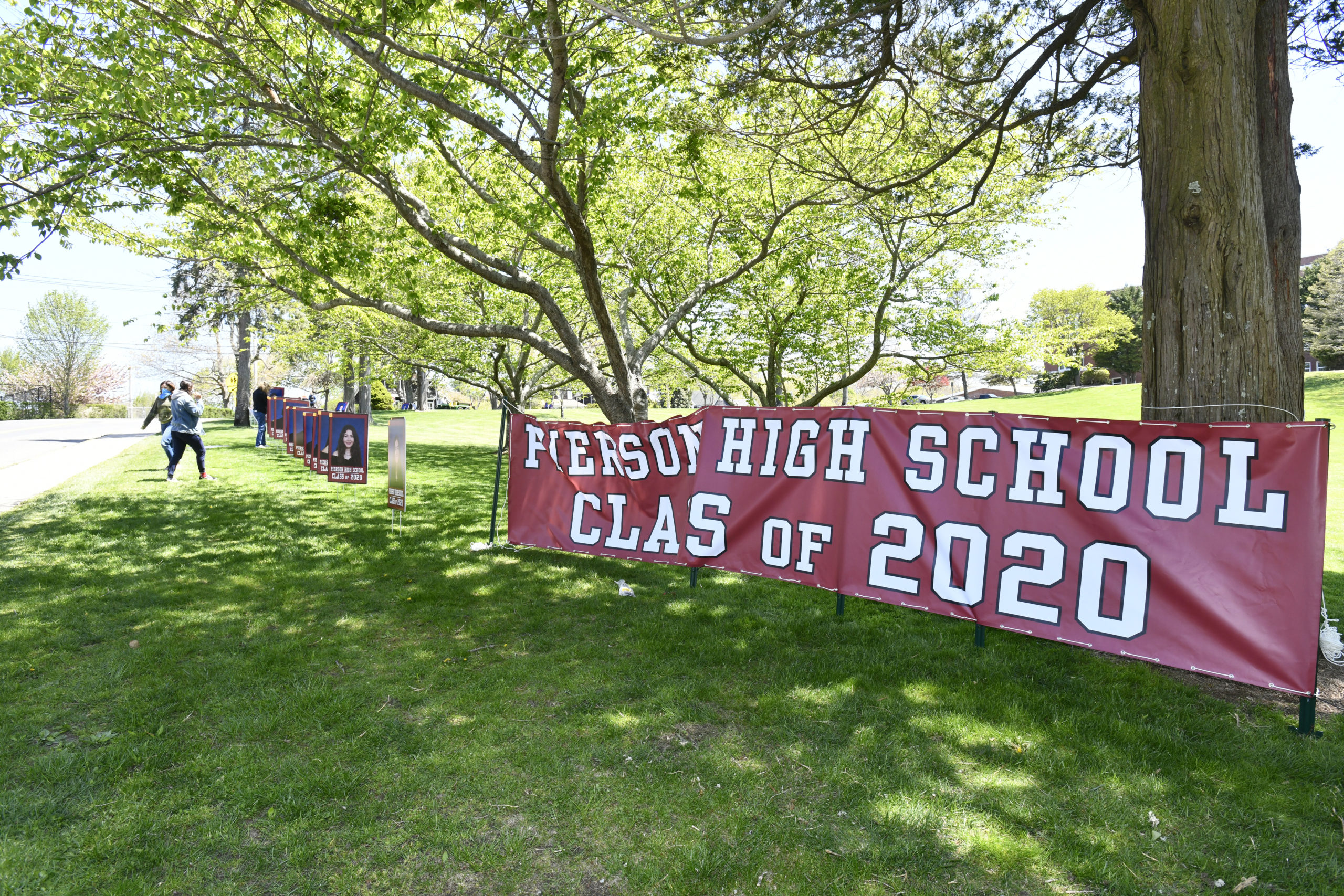Photos of the Pierson High School Class or 2020 went up on Pierson Hill on Wednesday.