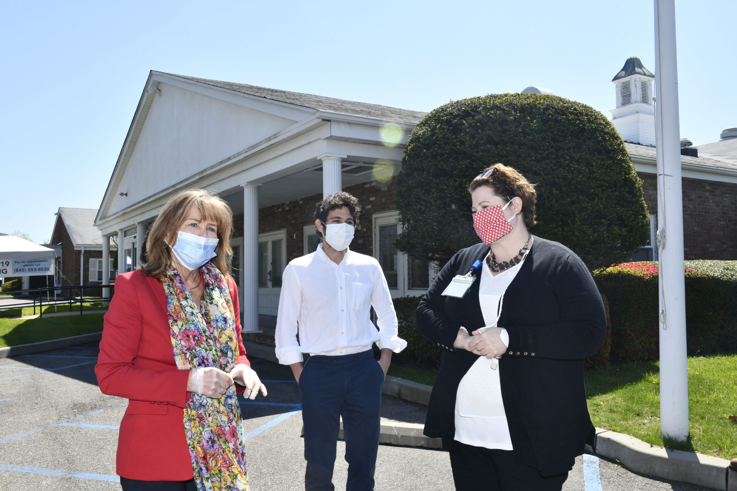 Anne Kauffman Nolon, CEO of HRHCare, Southampton Village Mayor Jesse Warren and Allison Dubois, MPH Chief Operating Officer and Executive Vice President of HRHCare at the Southampton tersting site on Thursday, May 7.  DANA SHAW