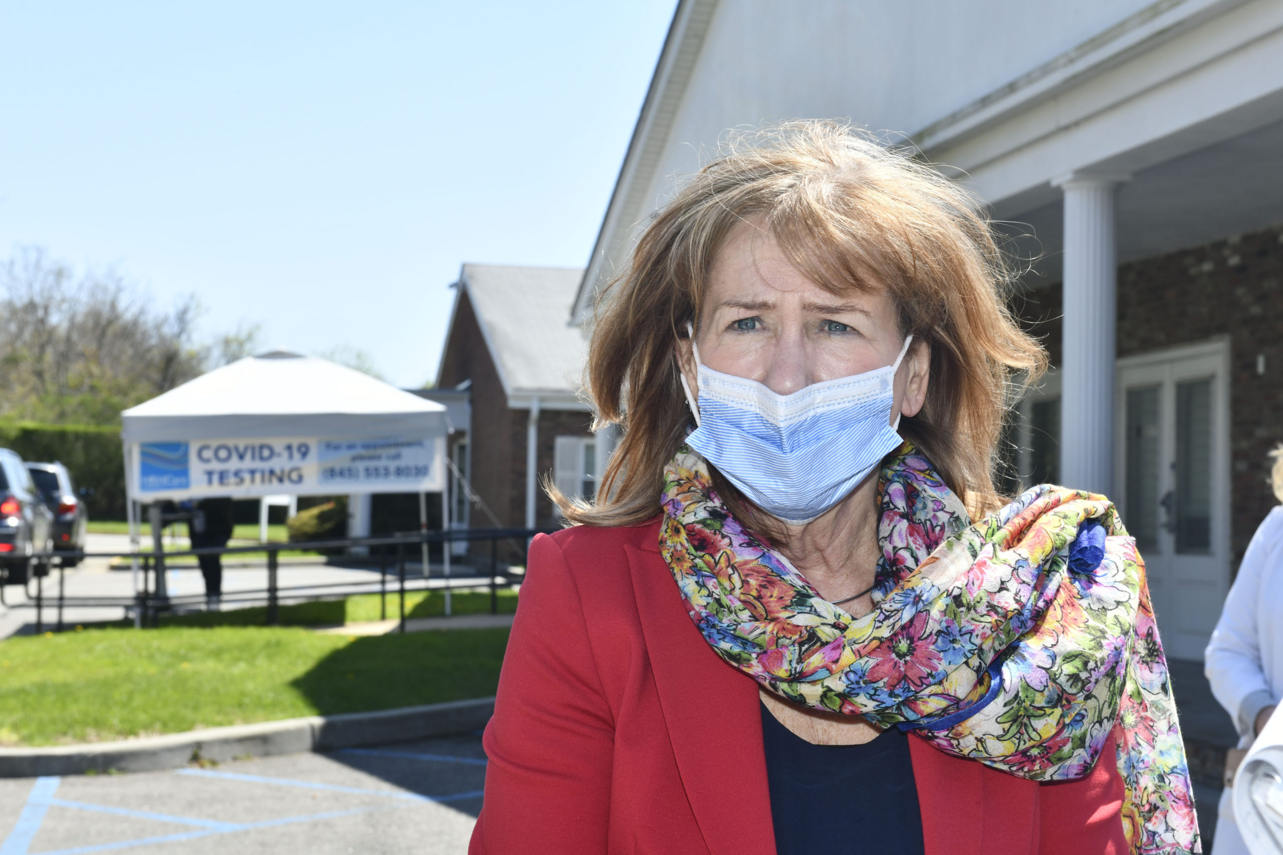 Anne Kauffman Nolon, CEO of HRHCare at the testing site in Southampton on Thursday, May 7.  DANA SHAW