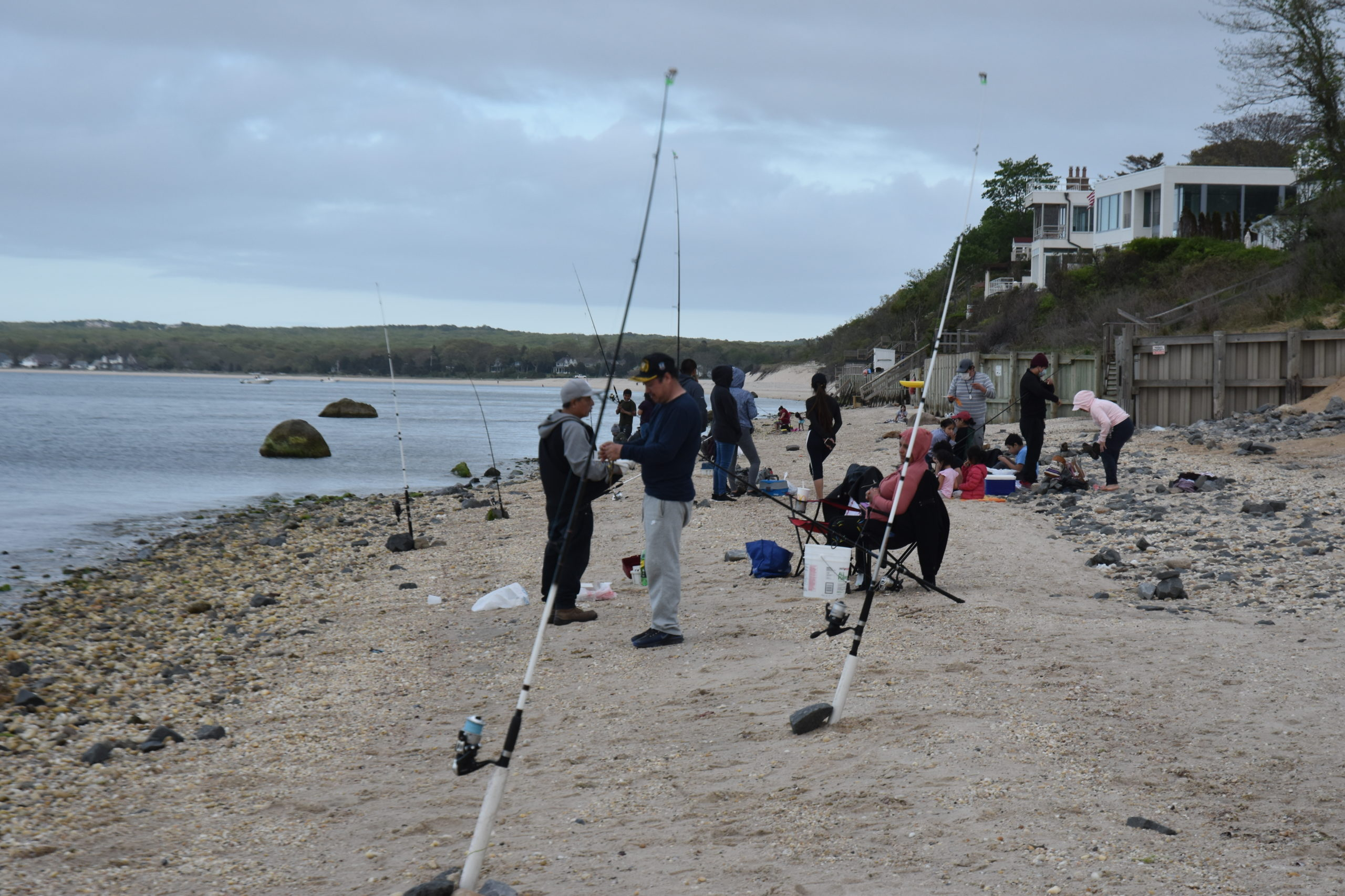 An abundance of porgies has attracted fishermen from New York City to North Sea Beach. STEPHEN J. KOTZ