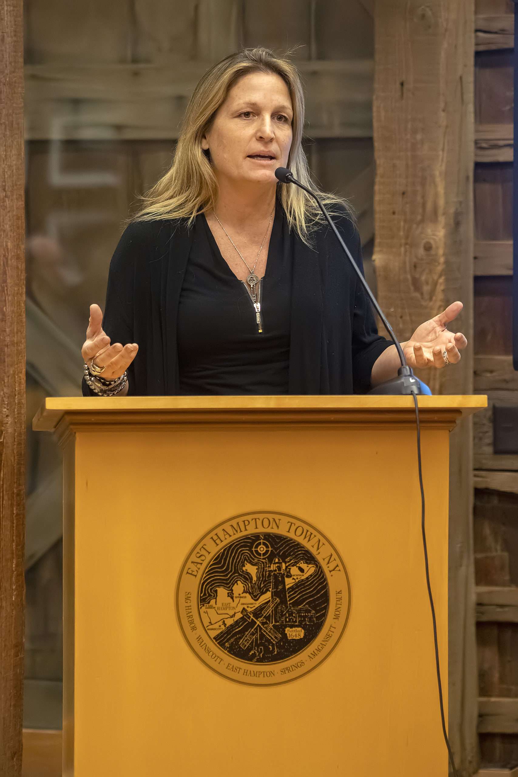 Singer-songwriter Nancy Atlas speaking at the last public discussion of the town's proposed amendments to the live music permit.