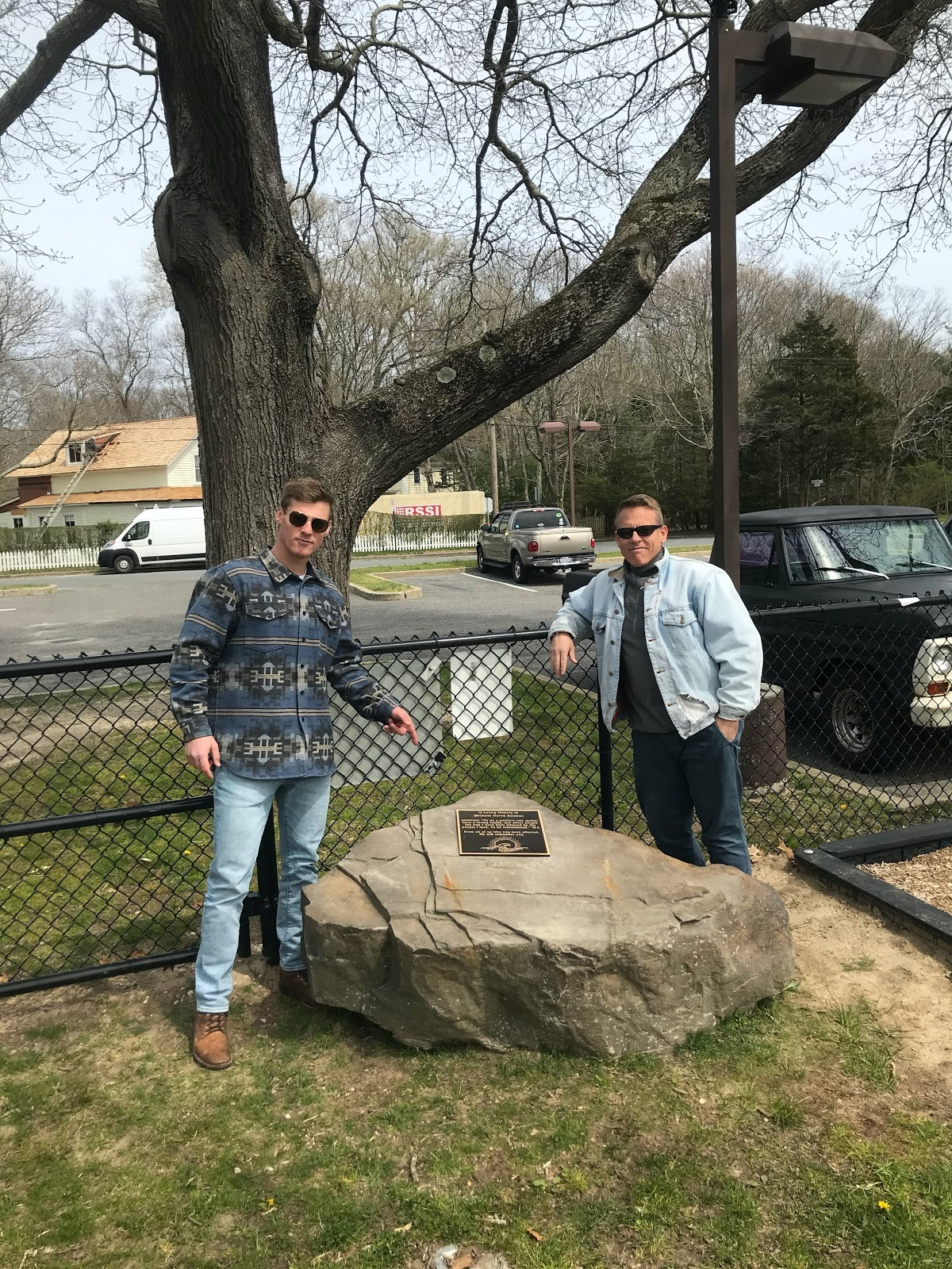 Drew Harvey and Dave Harvey at the completed memorial.
