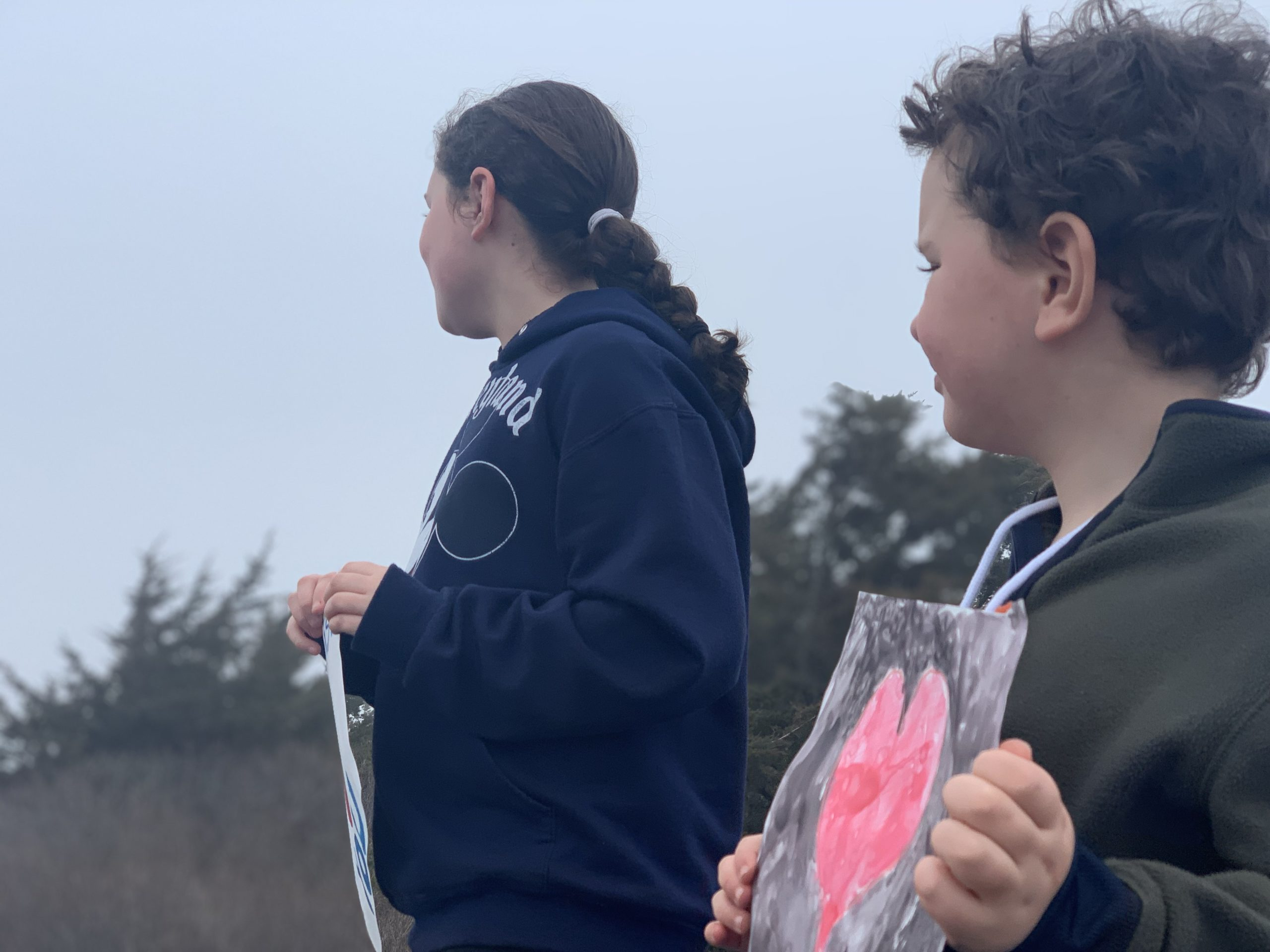 Students waved to their teachers on Friday during a Spirit Drive in Springs held shortly before it was announced by Governor Andrew Cuomo that school would be closed for the remainder of the year.